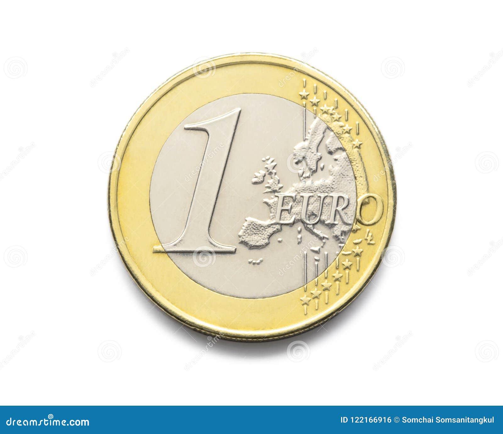Uma euro- moeda 1 euro- moeda da sagacidade realística europeia da imagem da foto