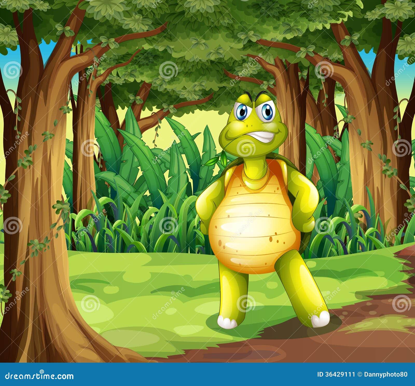 Uma floresta com uma tartaruga que está no meio das árvores