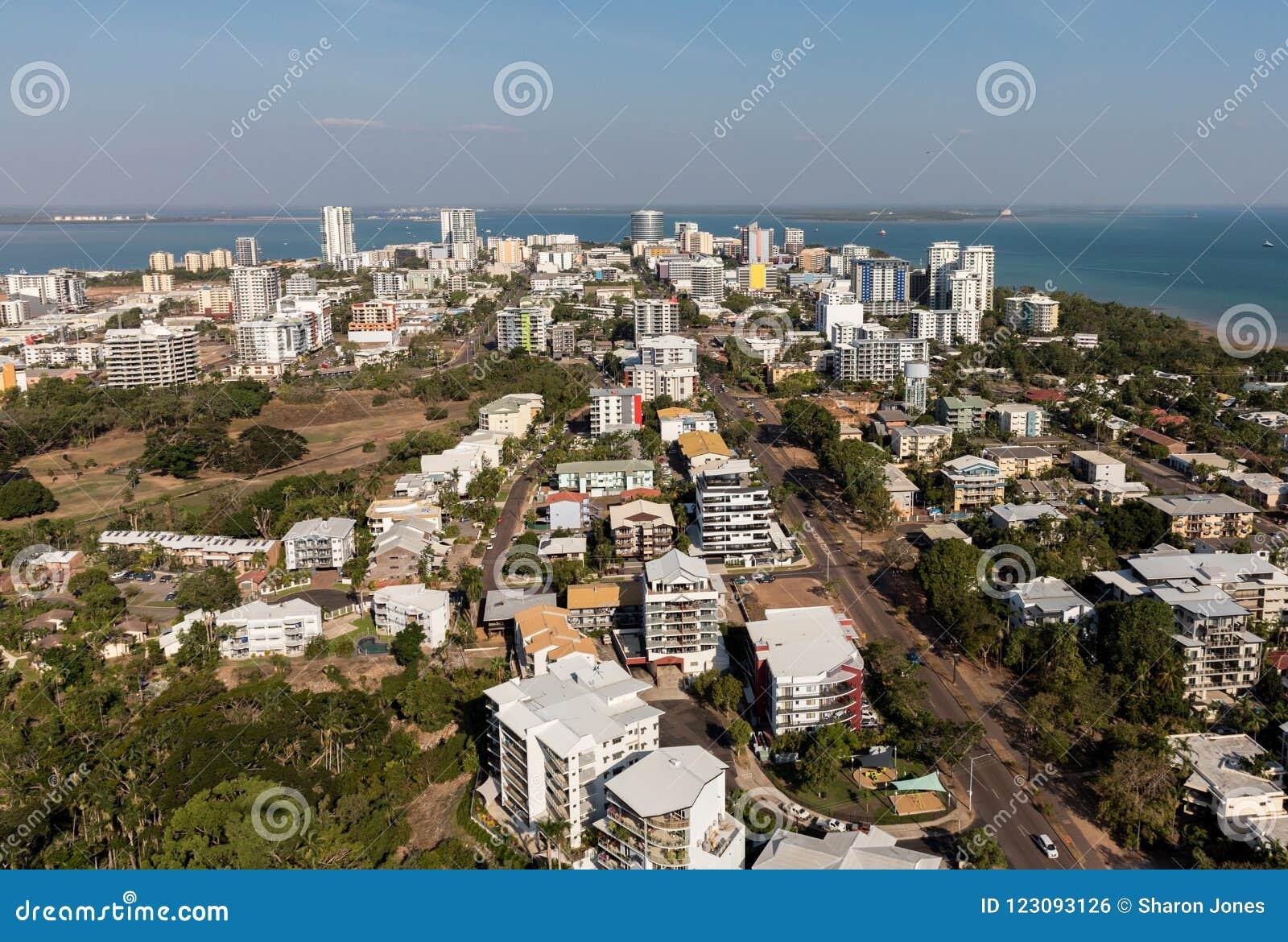 Uma foto aérea de Darwin, capital do Território do Norte de Austrália