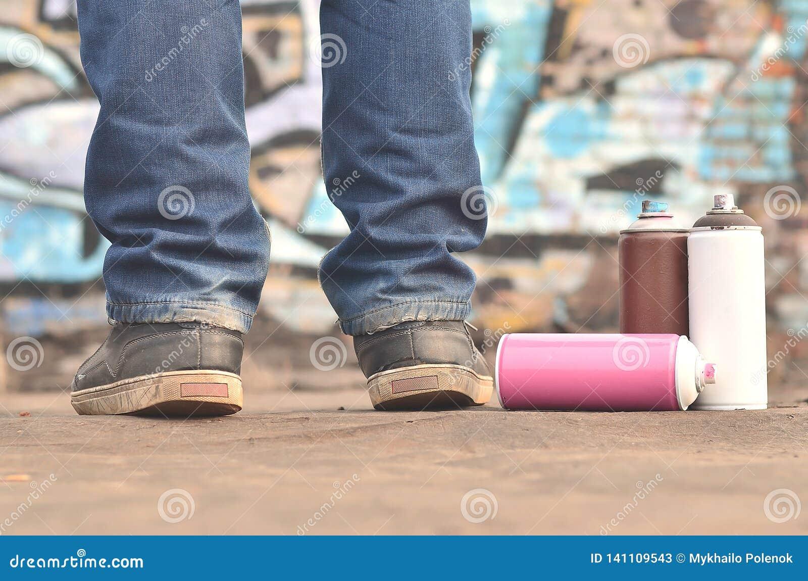 Uma fotografia de um determinado número de latas da pintura contra o graf
