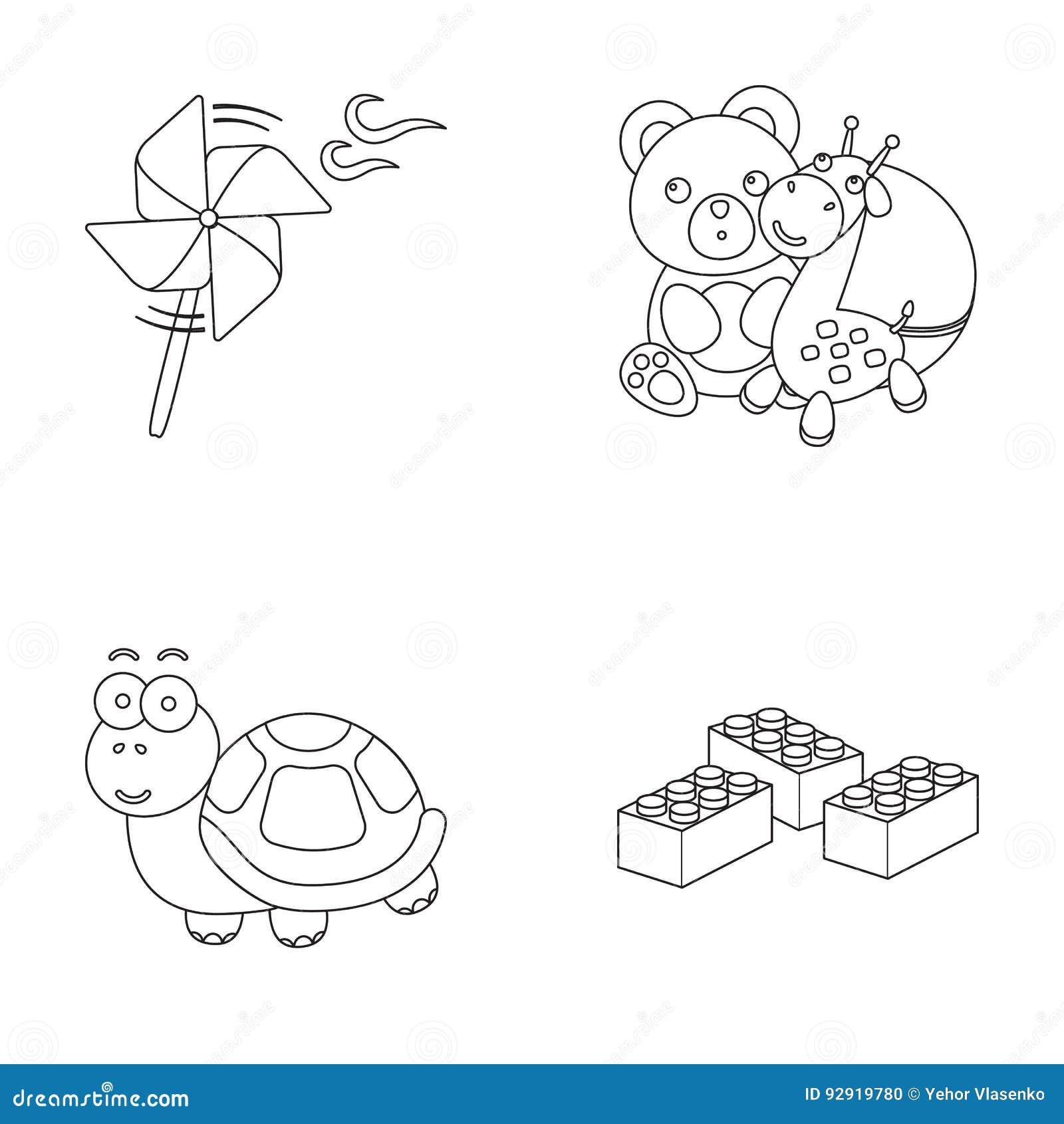 Uma hélice do brinquedo, um urso de peluche com um girafa e uma bola colorida, uma tartaruga do brinquedo, um lego, um desenhista