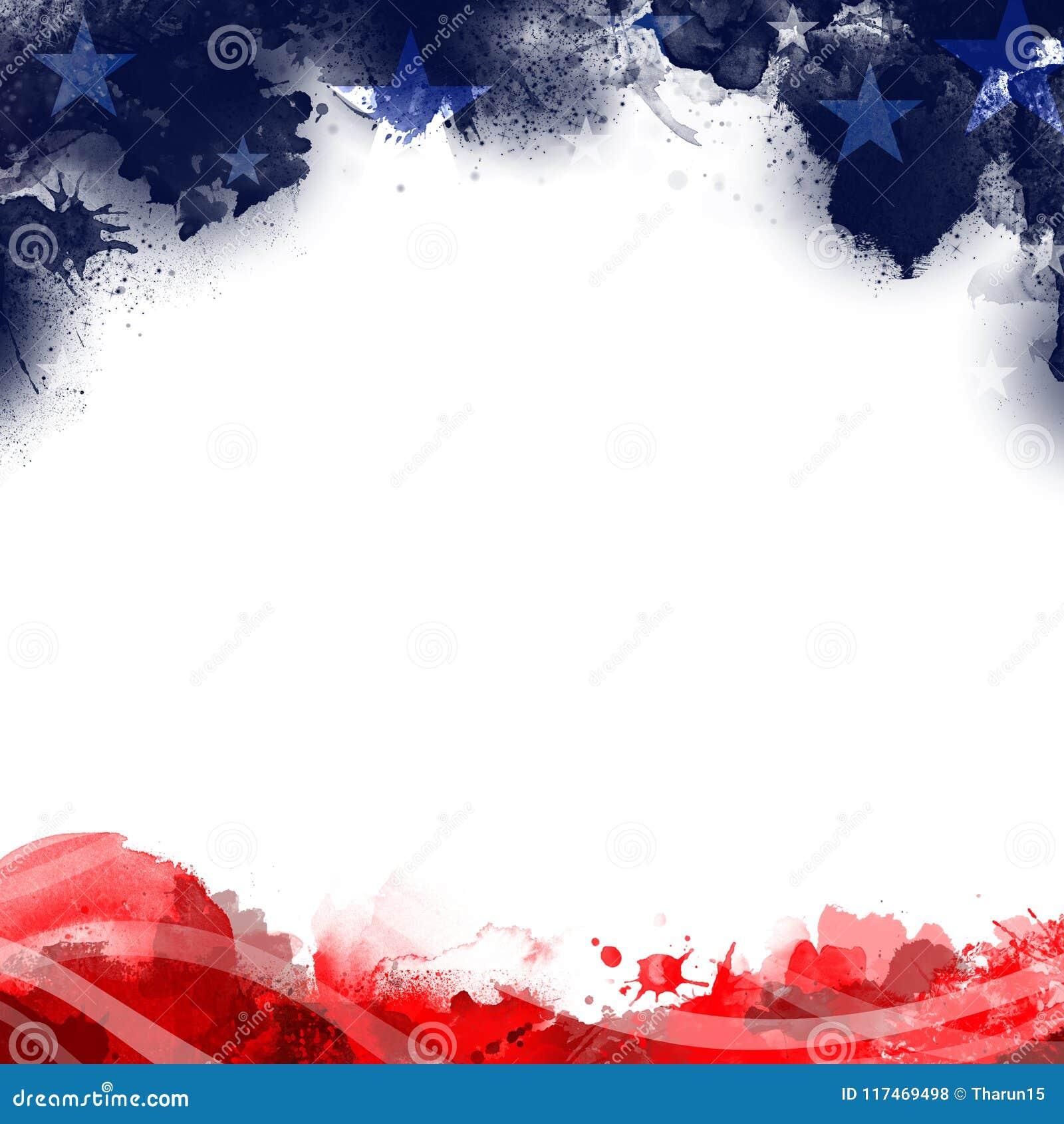 Uma ilustração do pé de página do encabeçamento do fundo patriótico do Estados Unidos em cores da bandeira