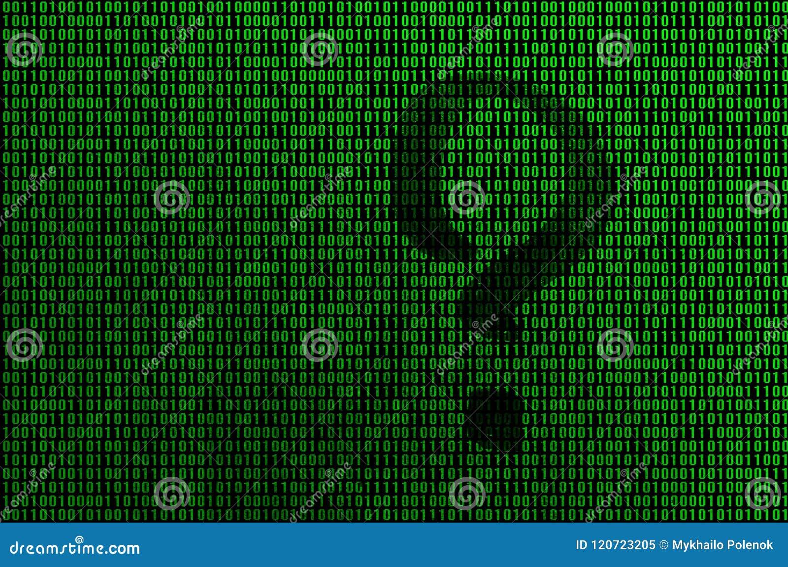 Uma imagem de um código binário dos dígitos verde-claro, através de que o formulário de um ponto de interrogação é visível