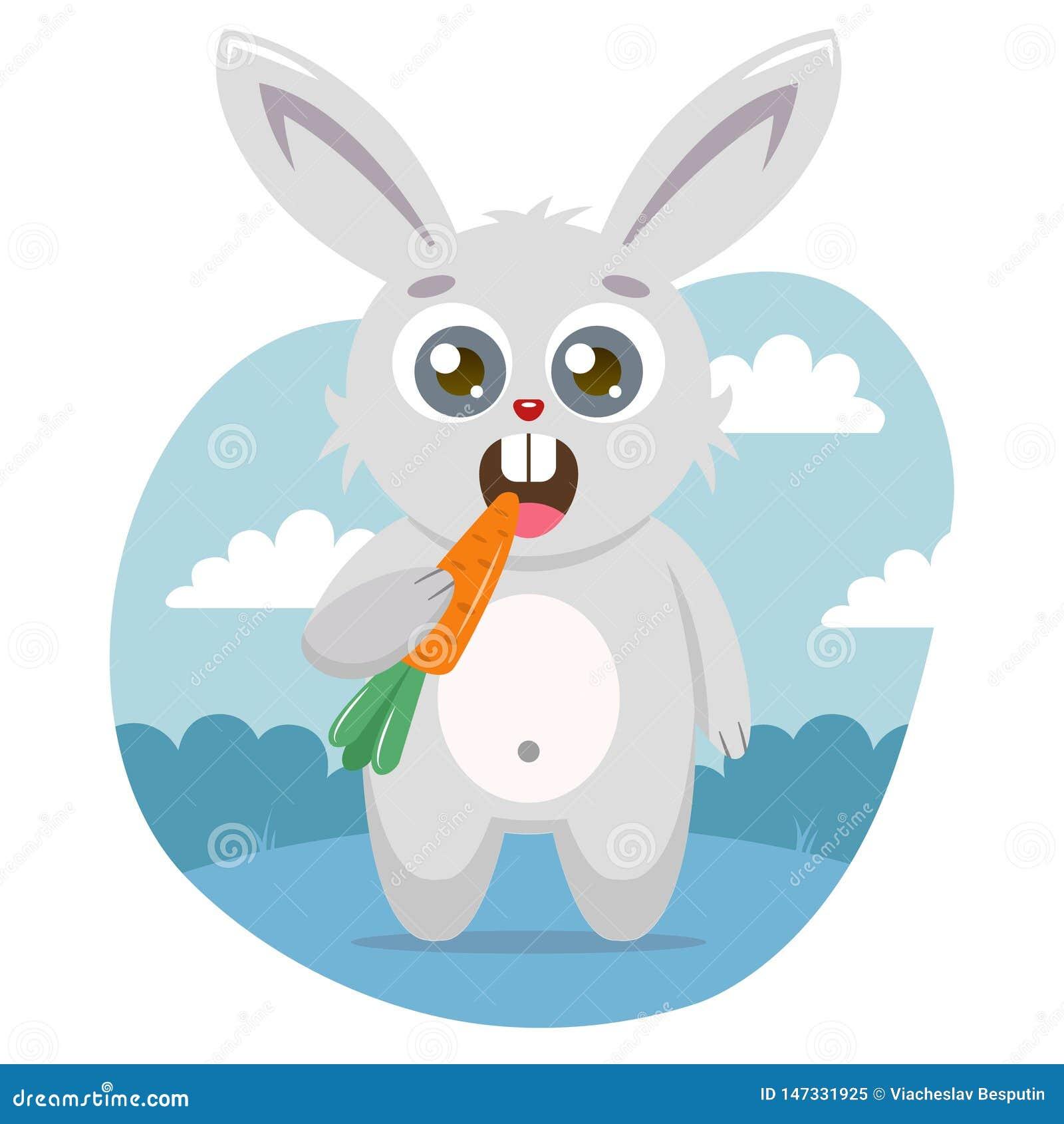 Uma lebre bonito guarda uma cenoura em sua pata e come-a