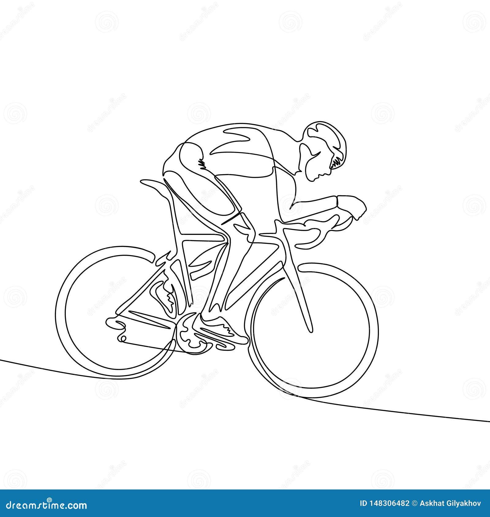 Uma linha contínua ciclista no capacete que monta uma bicicleta abaixo da inclinação