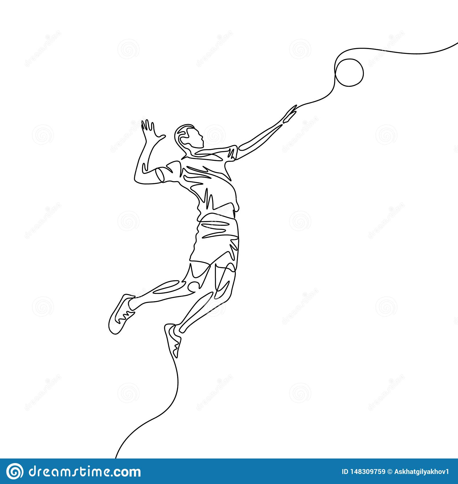 A uma linha contínua jogador de voleibol salta para jogar a bola