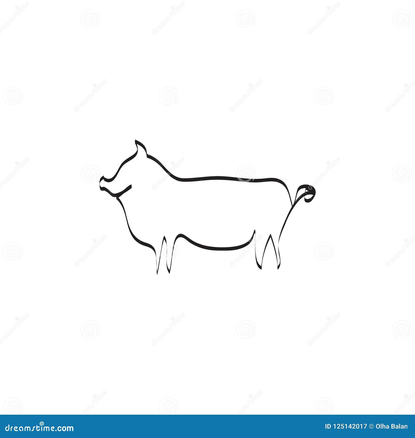 Uma linha ilustração do vetor do porco