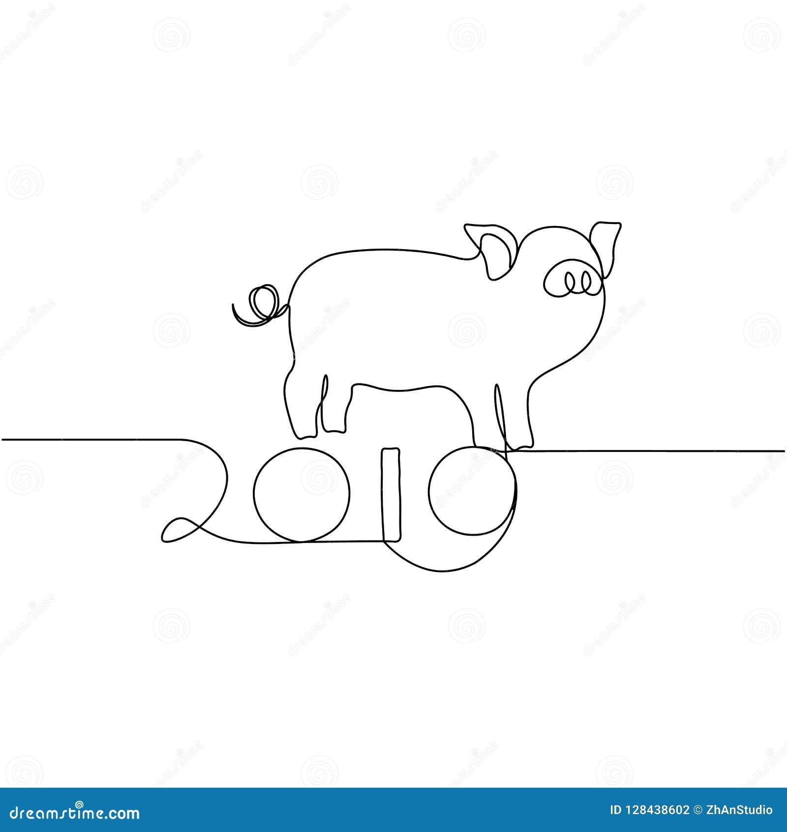 Uma linha silhueta do projeto do porco Ilustração do vetor do estilo de Minimalistic