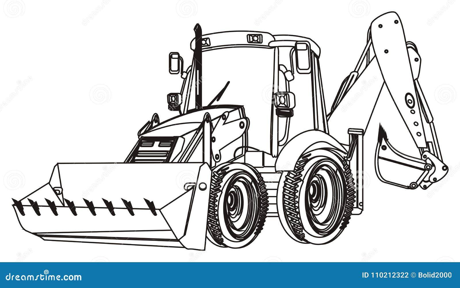 Uma Maquina Escavadora Colorindo Ilustracao Stock Ilustracao De