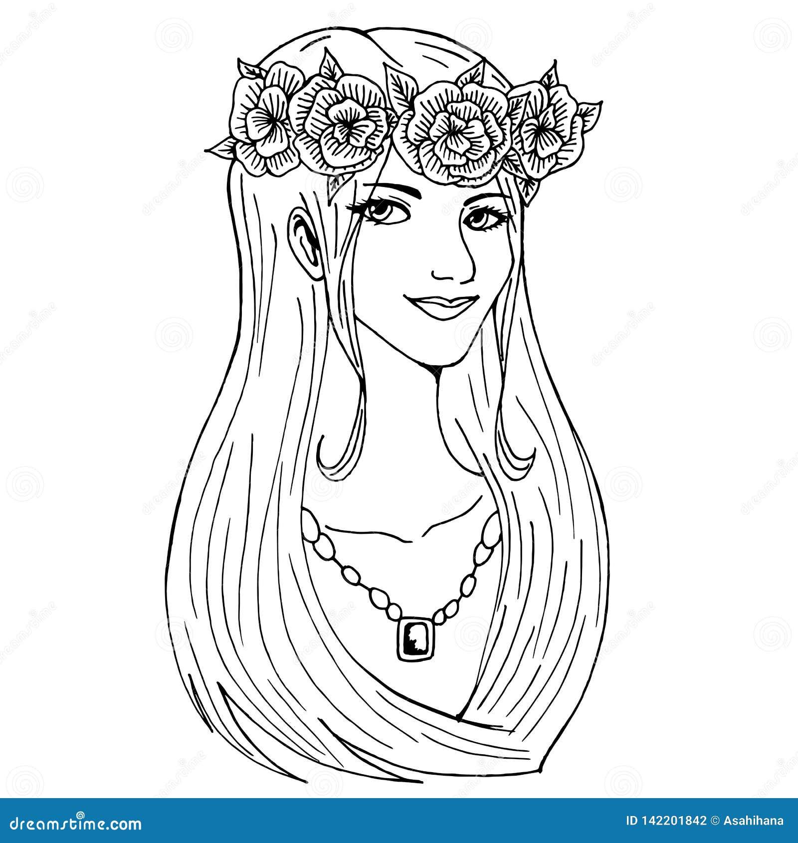 Uma menina bonita com uma grinalda da flor em sua cabeça e em uma colar