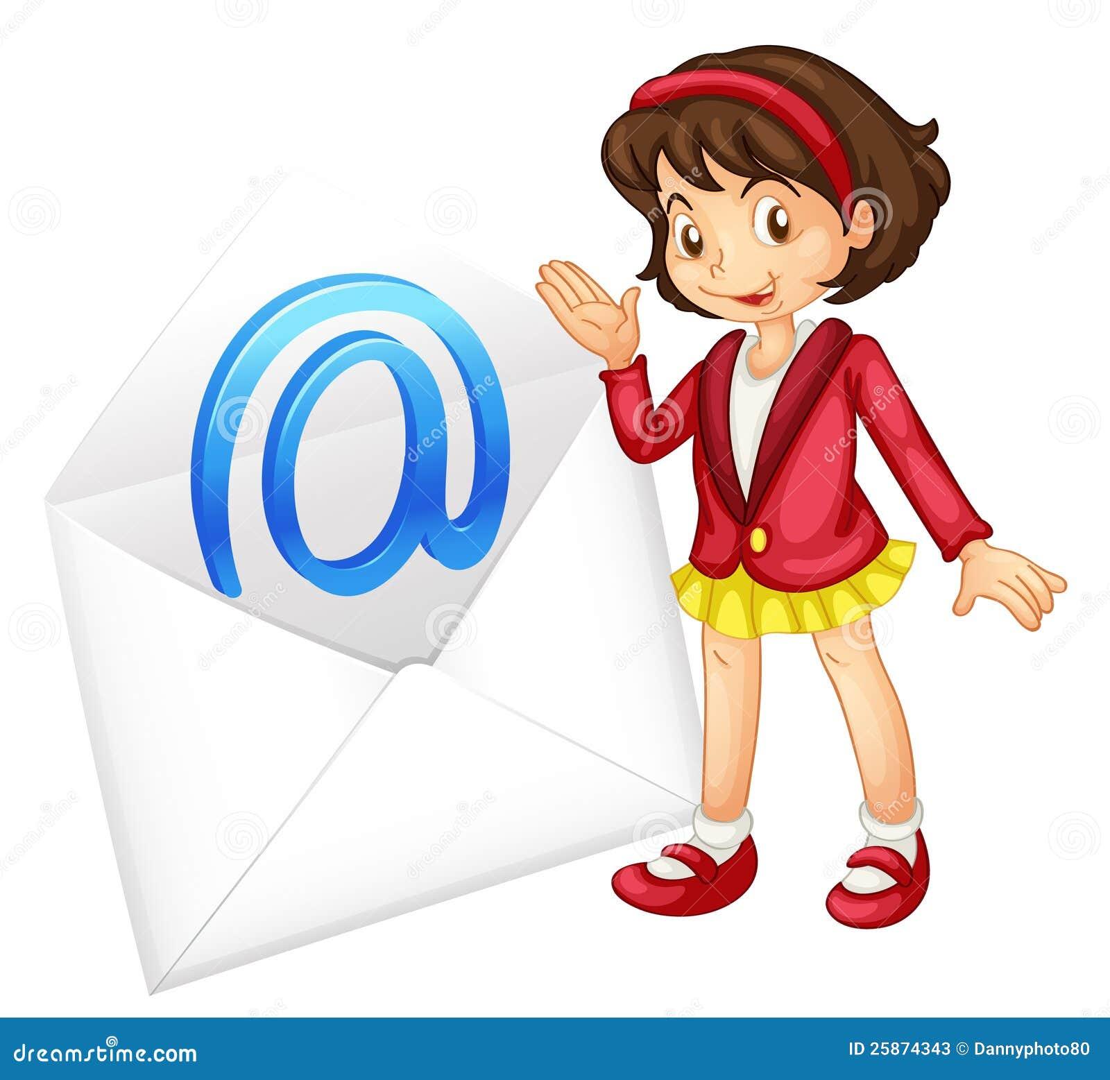 Uma menina com correio envolve