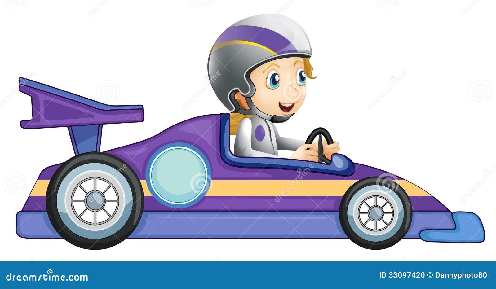 Uma menina em um carro de competência
