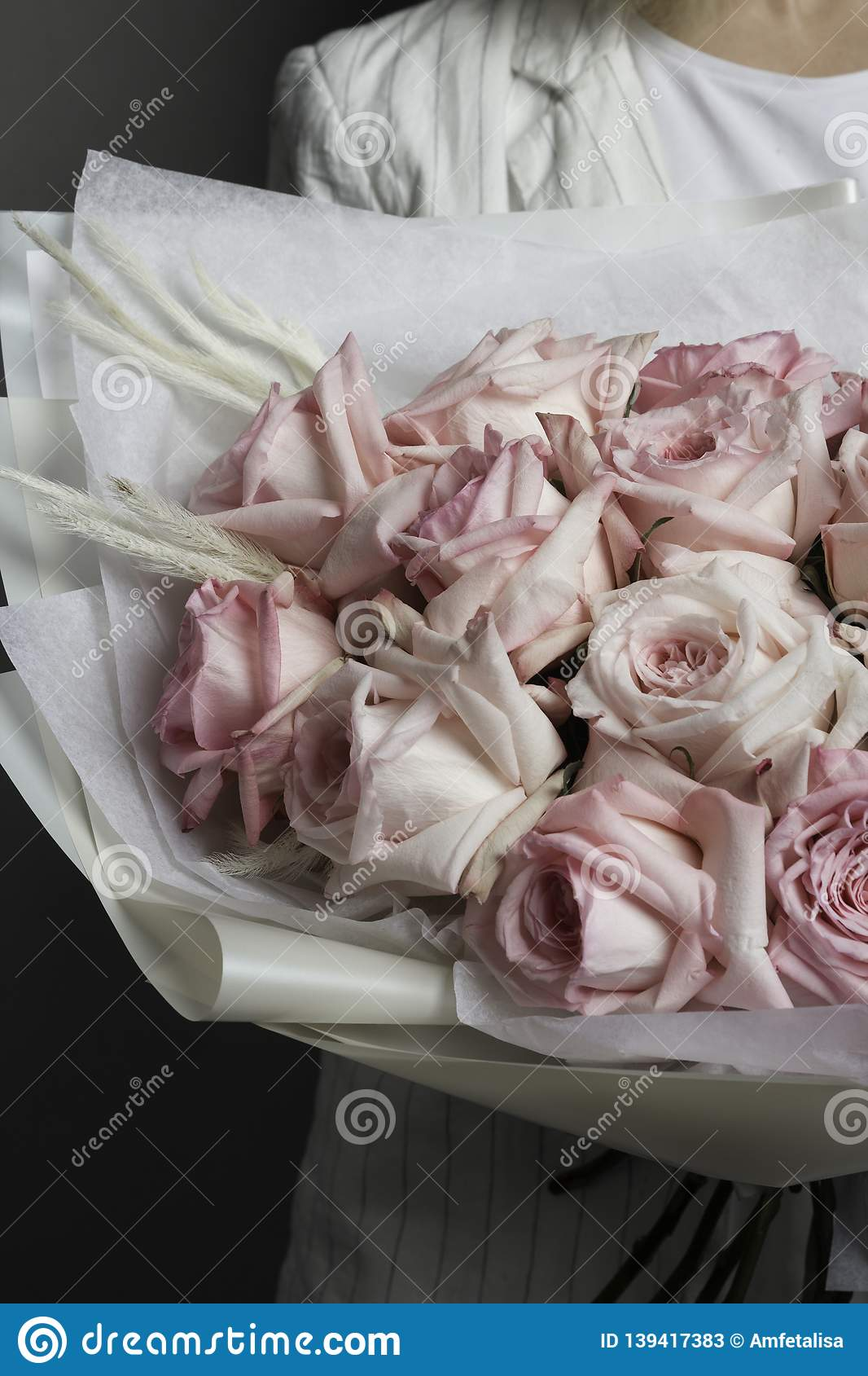 Uma menina na roupa branca está guardando um ramalhete bonito delicado de rosas cor-de-rosa, em um pacote translúcido