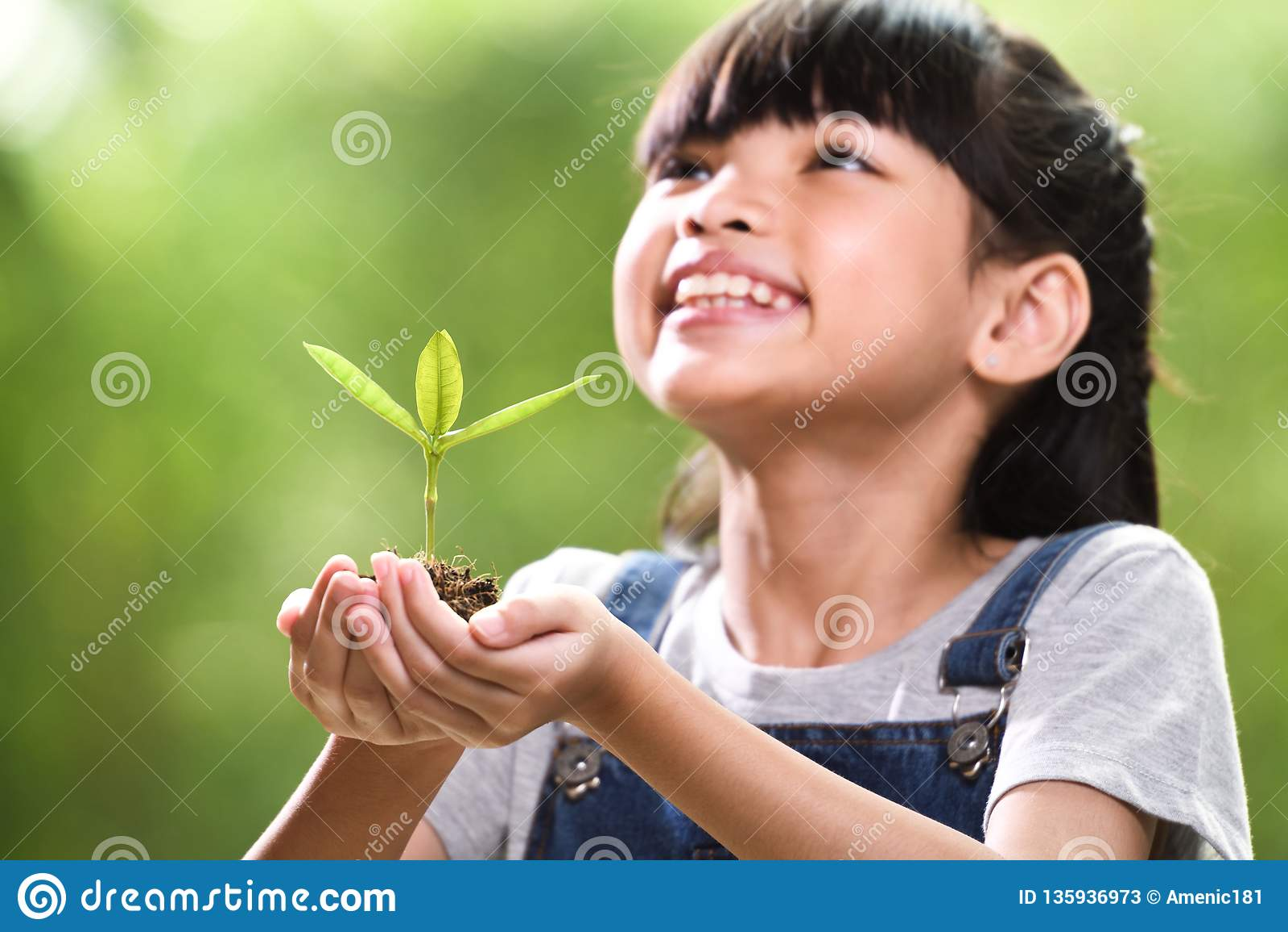 Uma menina que guarda uma planta nova em suas mãos com uma esperança do bom ambiente, foco seletivo na planta