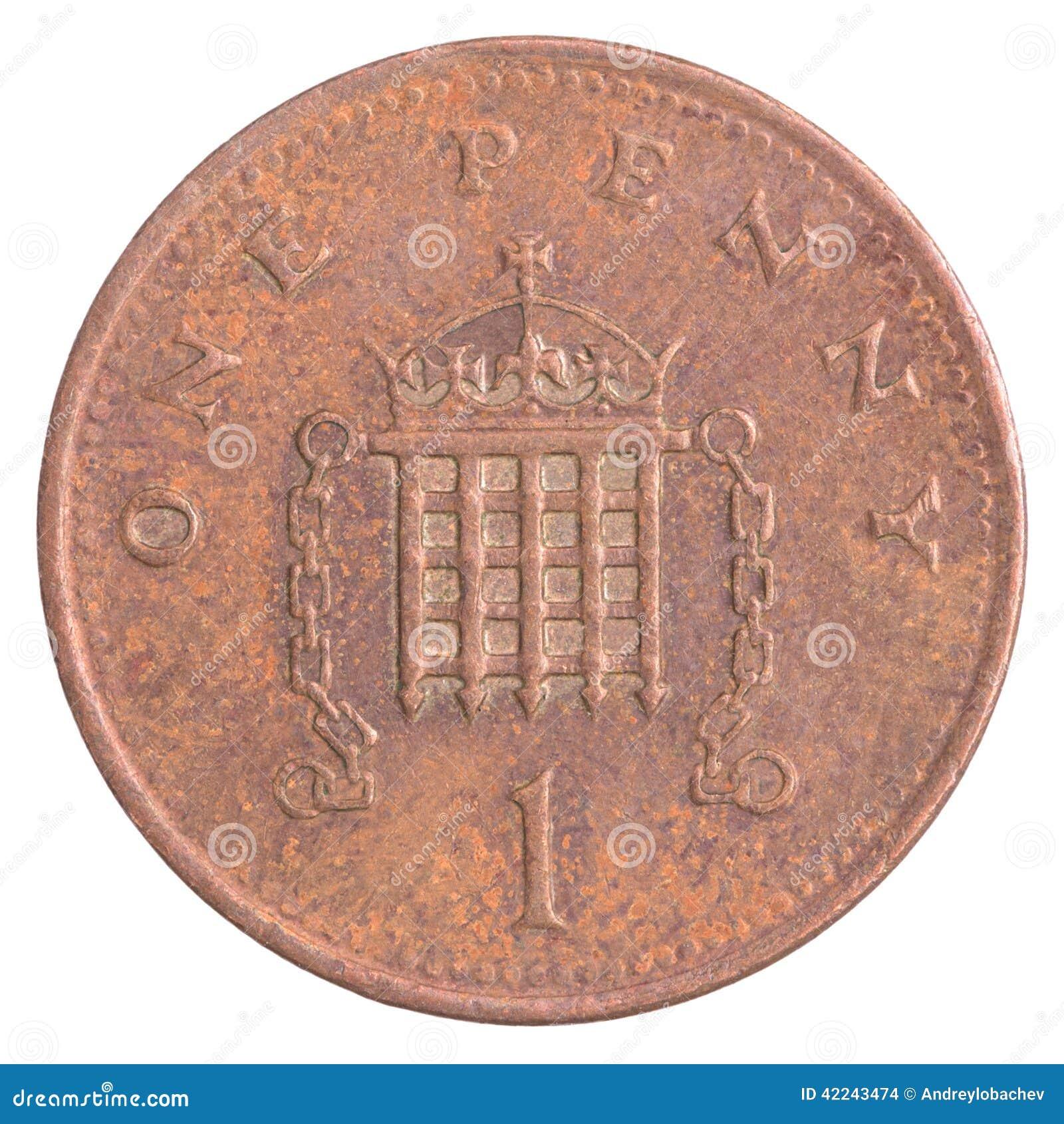Uma moeda britânica da moeda de um centavo