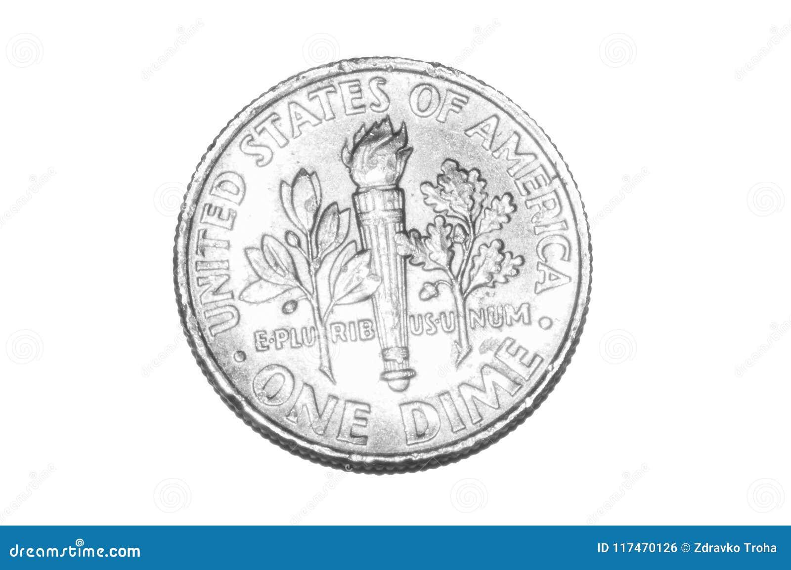 Uma moeda da moeda de dez centavos isolada no branco