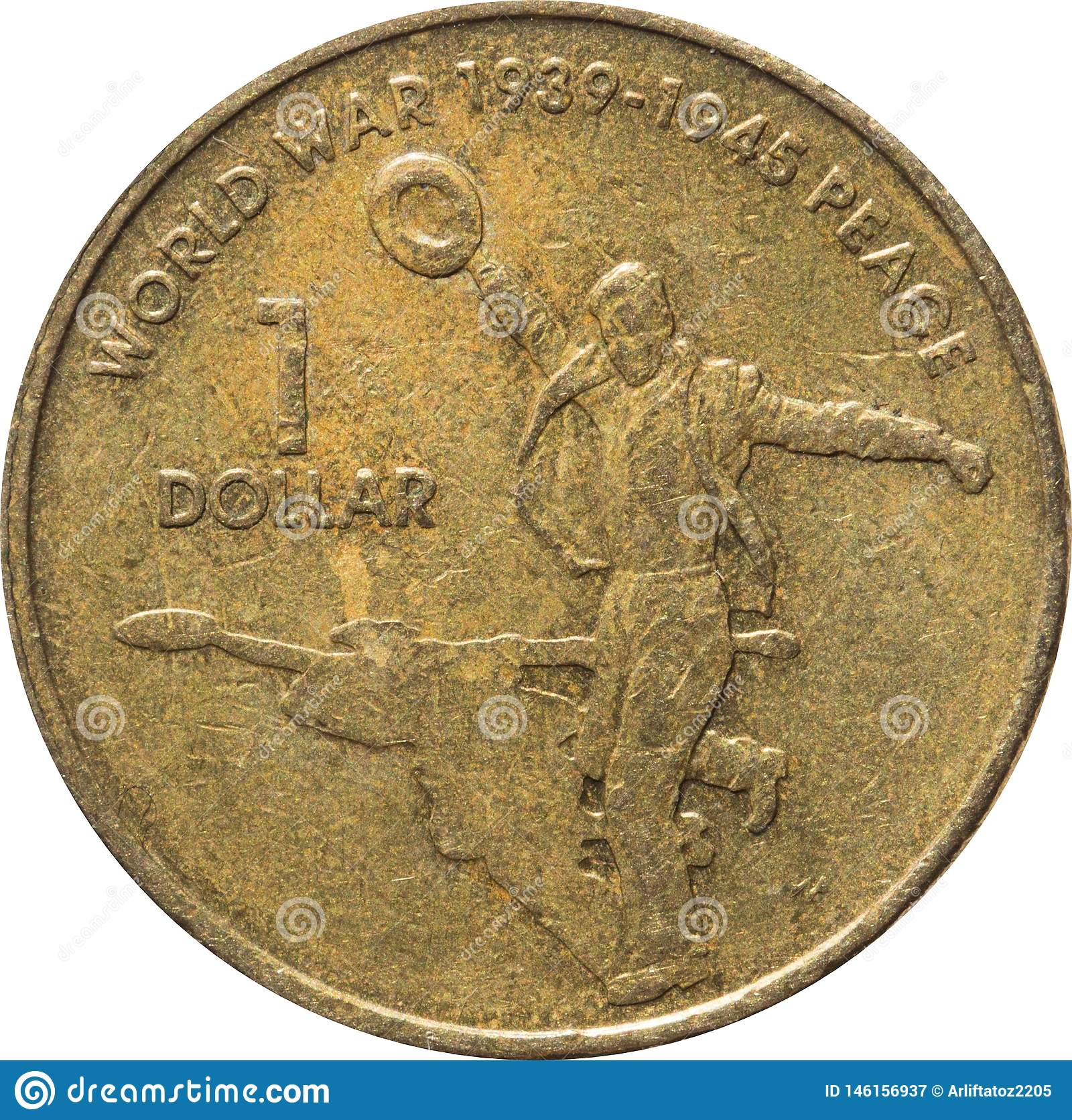 A uma moeda de cobre australiana do d?lar que comemora o 60th anivers?rio da extremidade da guerra mundial 2, ano 2005