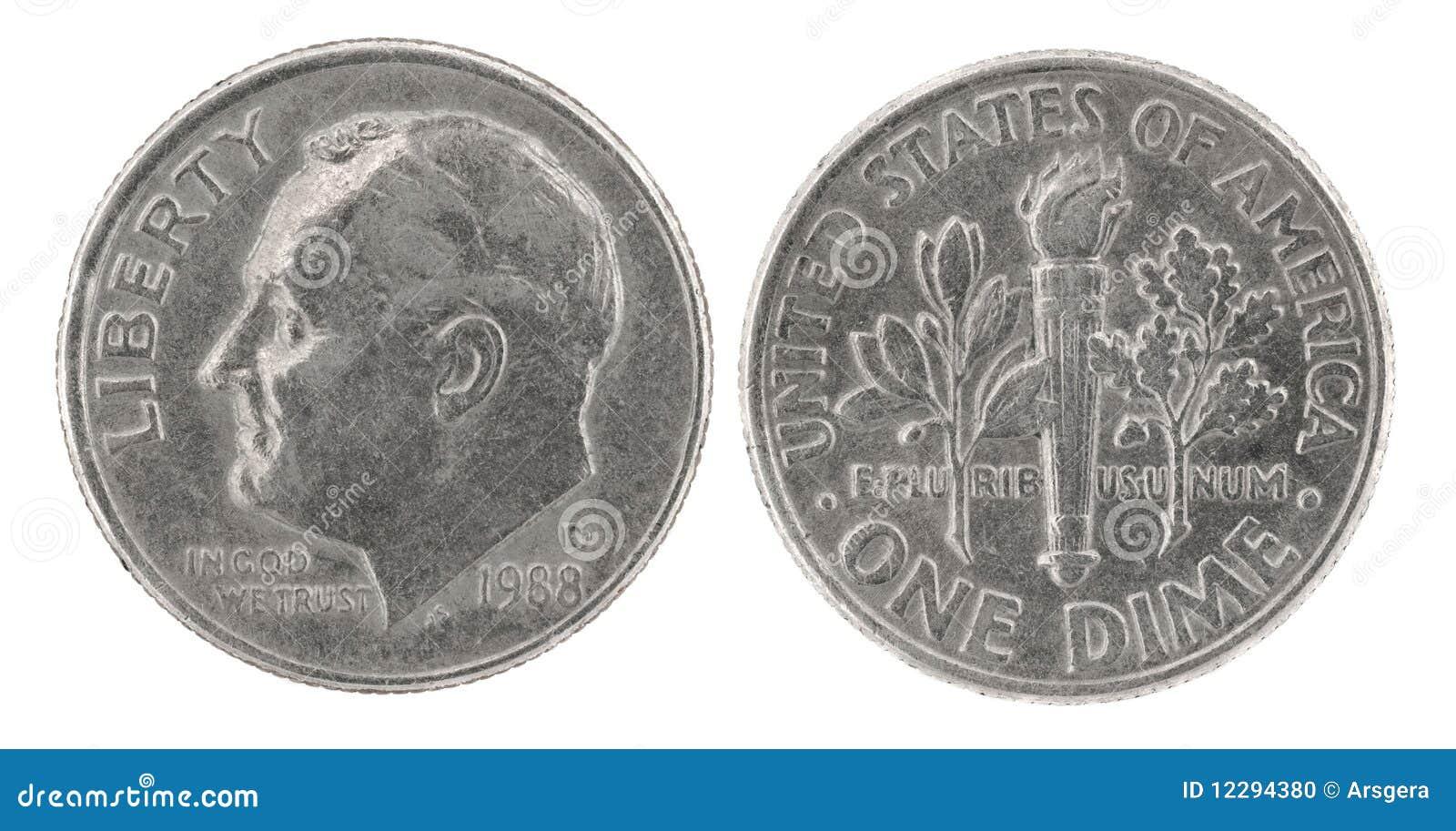 Uma moeda de dez centavos