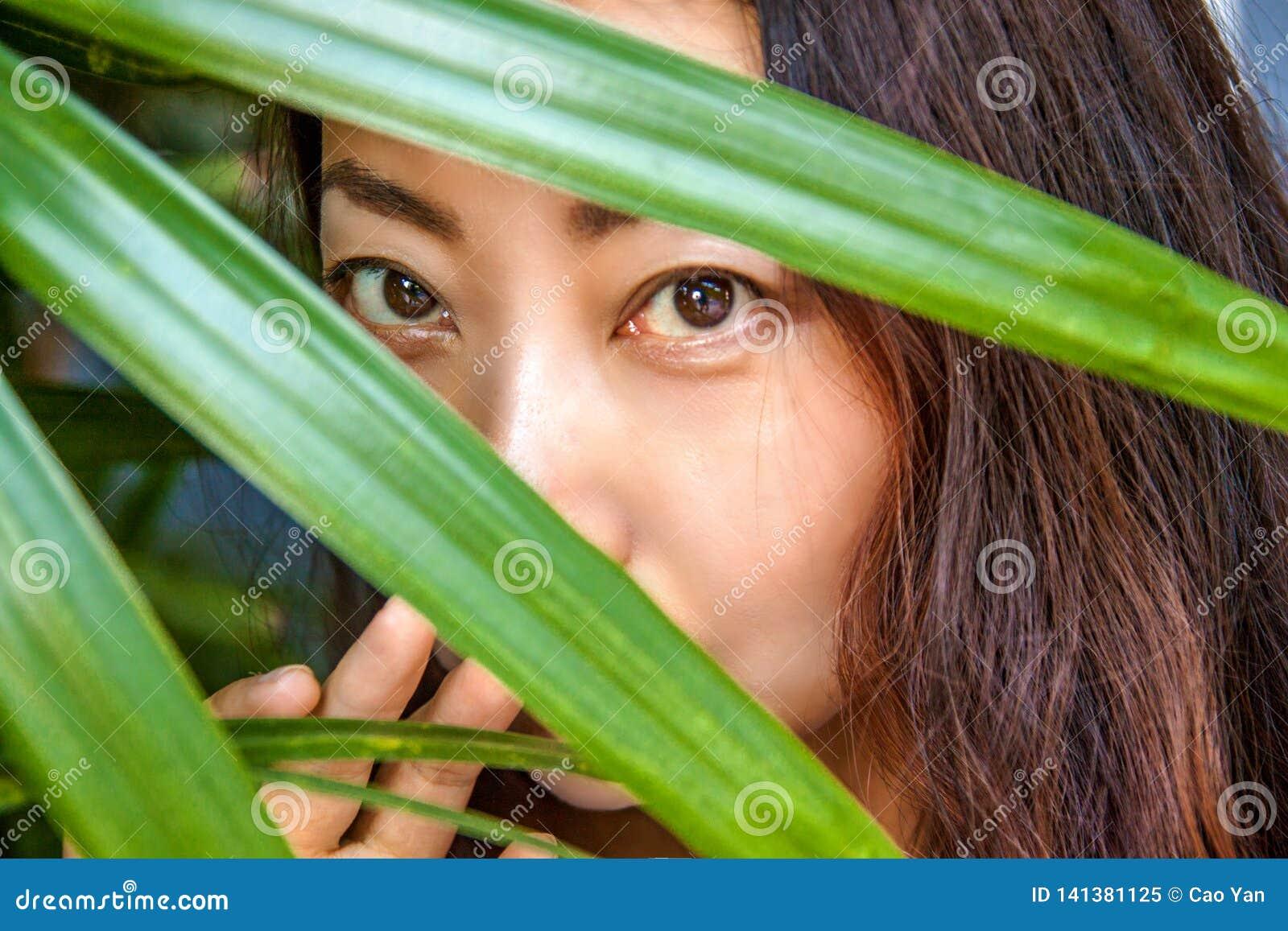 Uma mulher bonita está escondendo atrás das folhas de palmeira Beleza e cuidados com a pele orientais