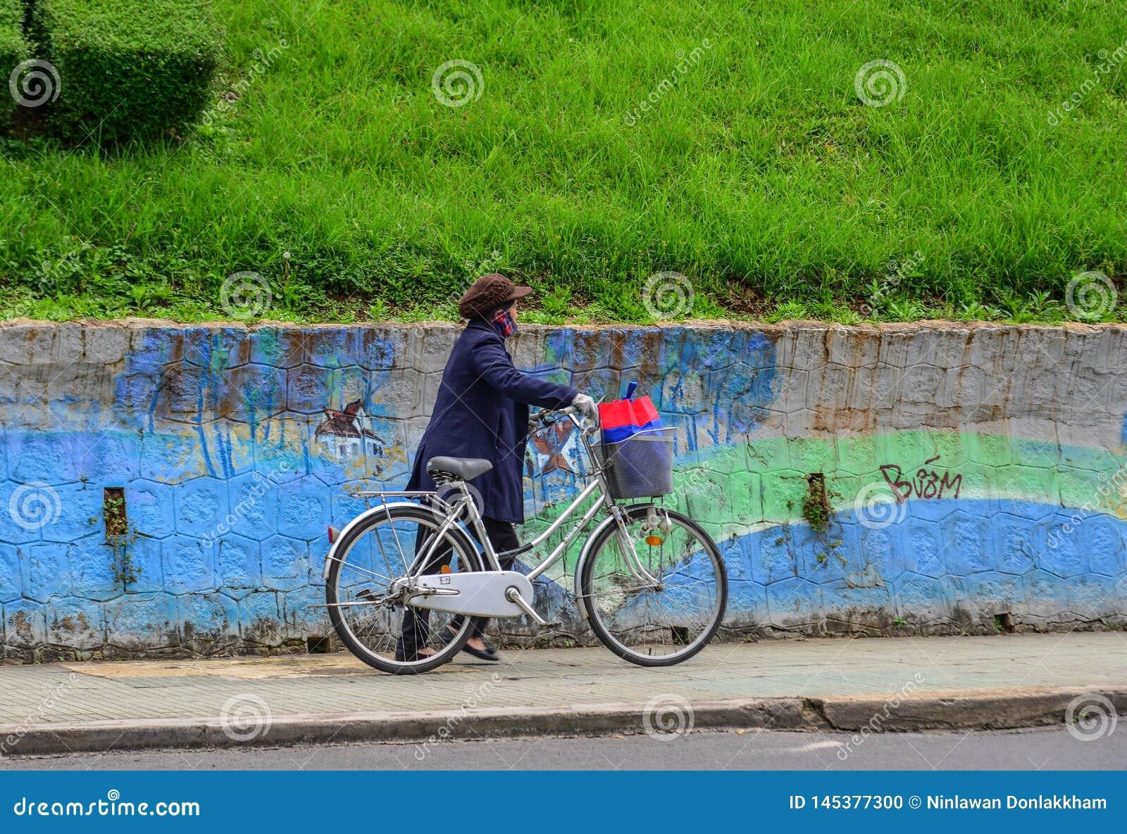Uma mulher com a bicicleta na rua