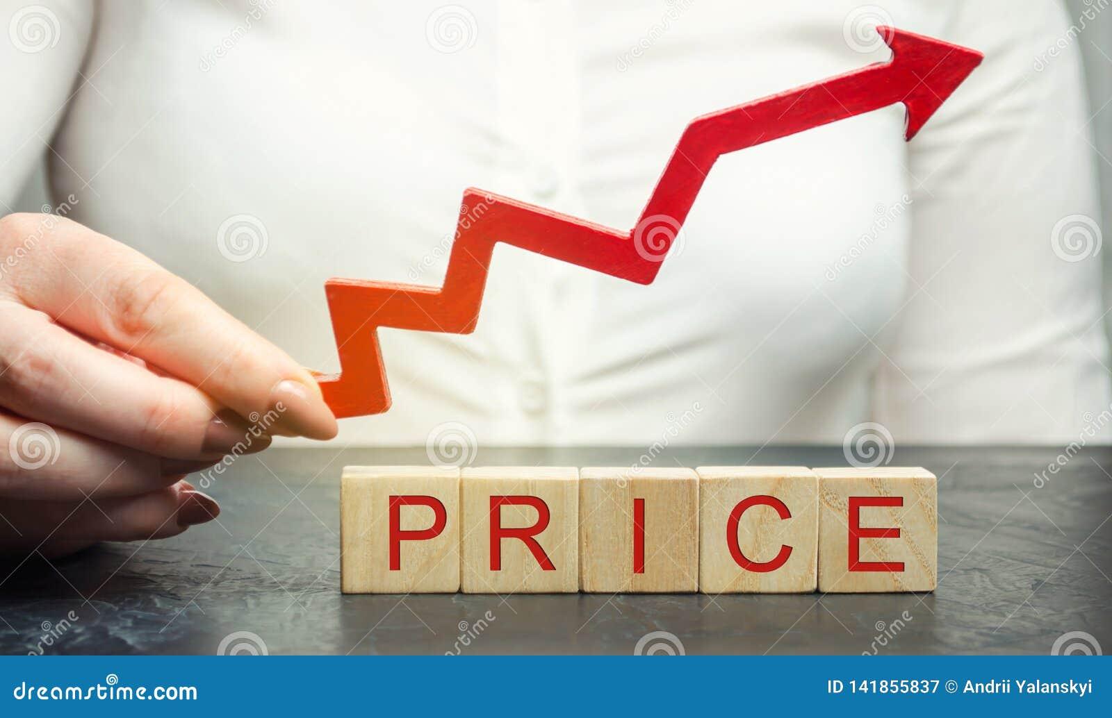Uma mulher guarda uma seta ascendente vermelha acima dos blocos de madeira e do preço da inscrição Valor de mercado crescente pri