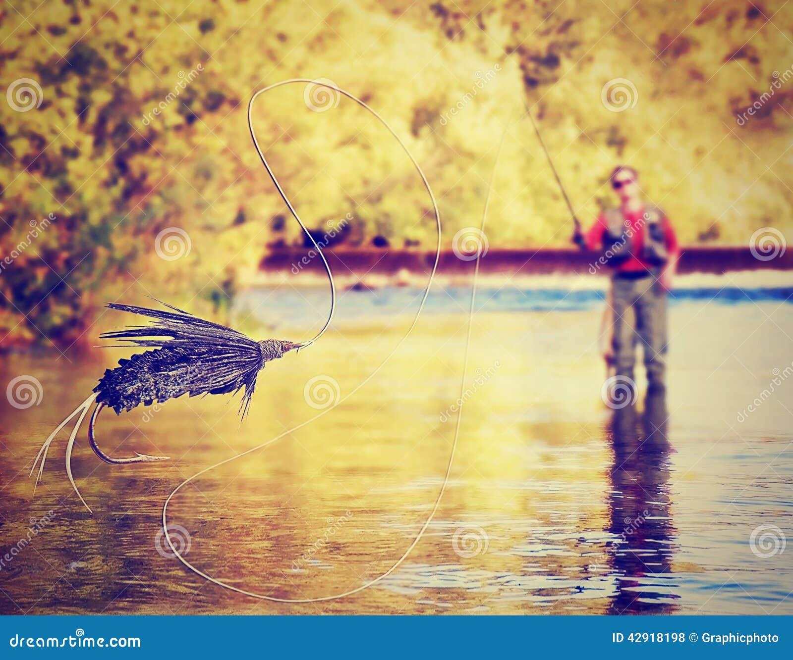 Uma pesca com mosca da pessoa