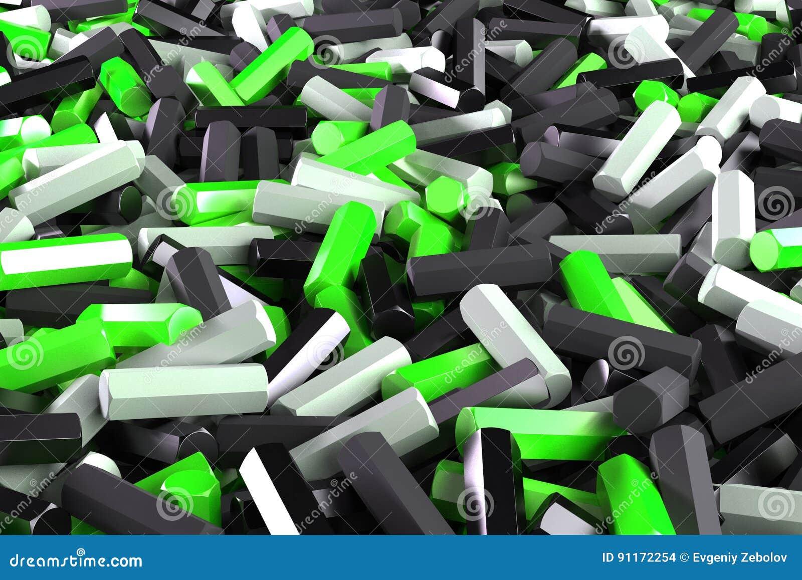 Uma pilha de detalhes pretos, brancos e verdes do hexágono
