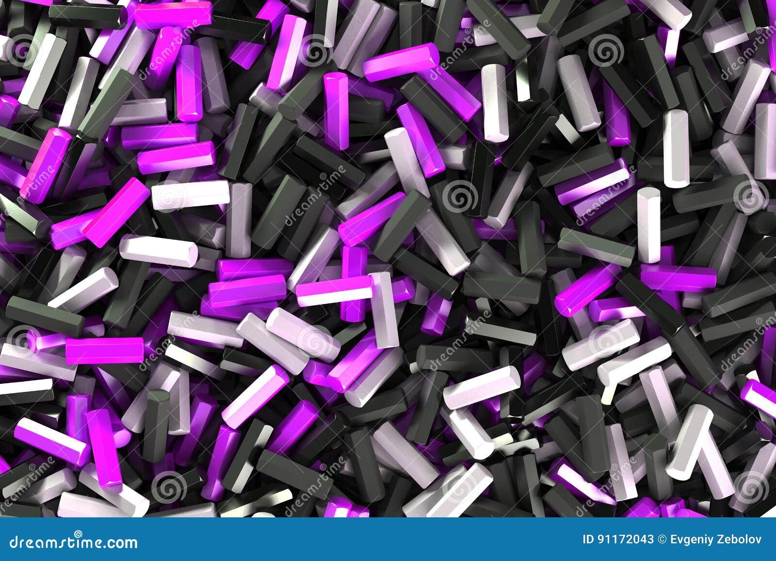 Uma pilha de detalhes pretos, brancos e violetas do hexágono