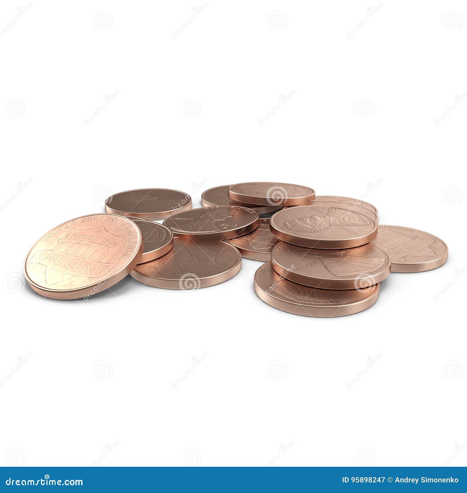 Uma pilha de moedas de 1 moeda de um centavo do centavo de E.U. isoladas no branco 3D ilustração, trajeto de grampeamento