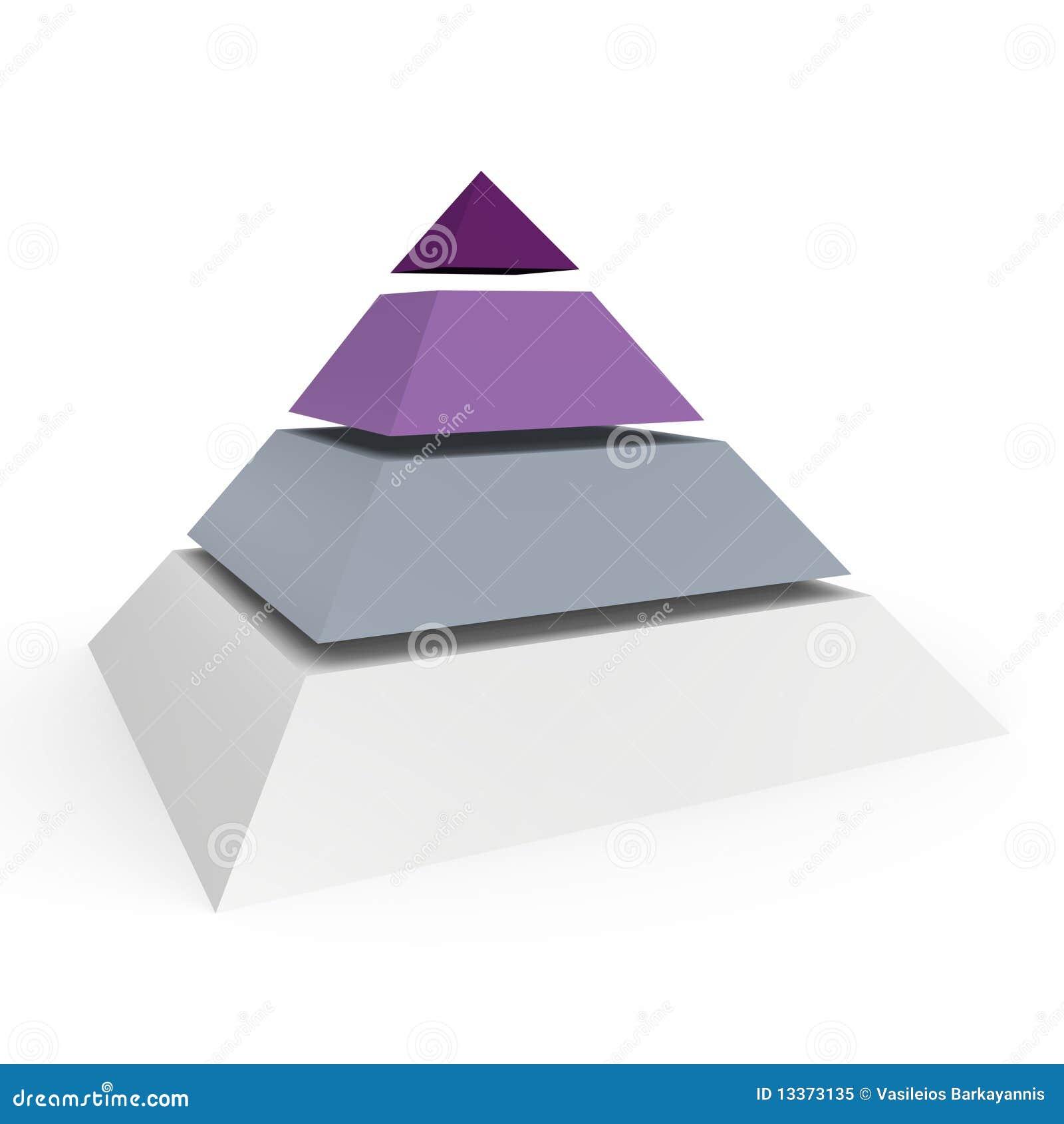 Uma pirâmide de 4 níveis - uma imagem 3d