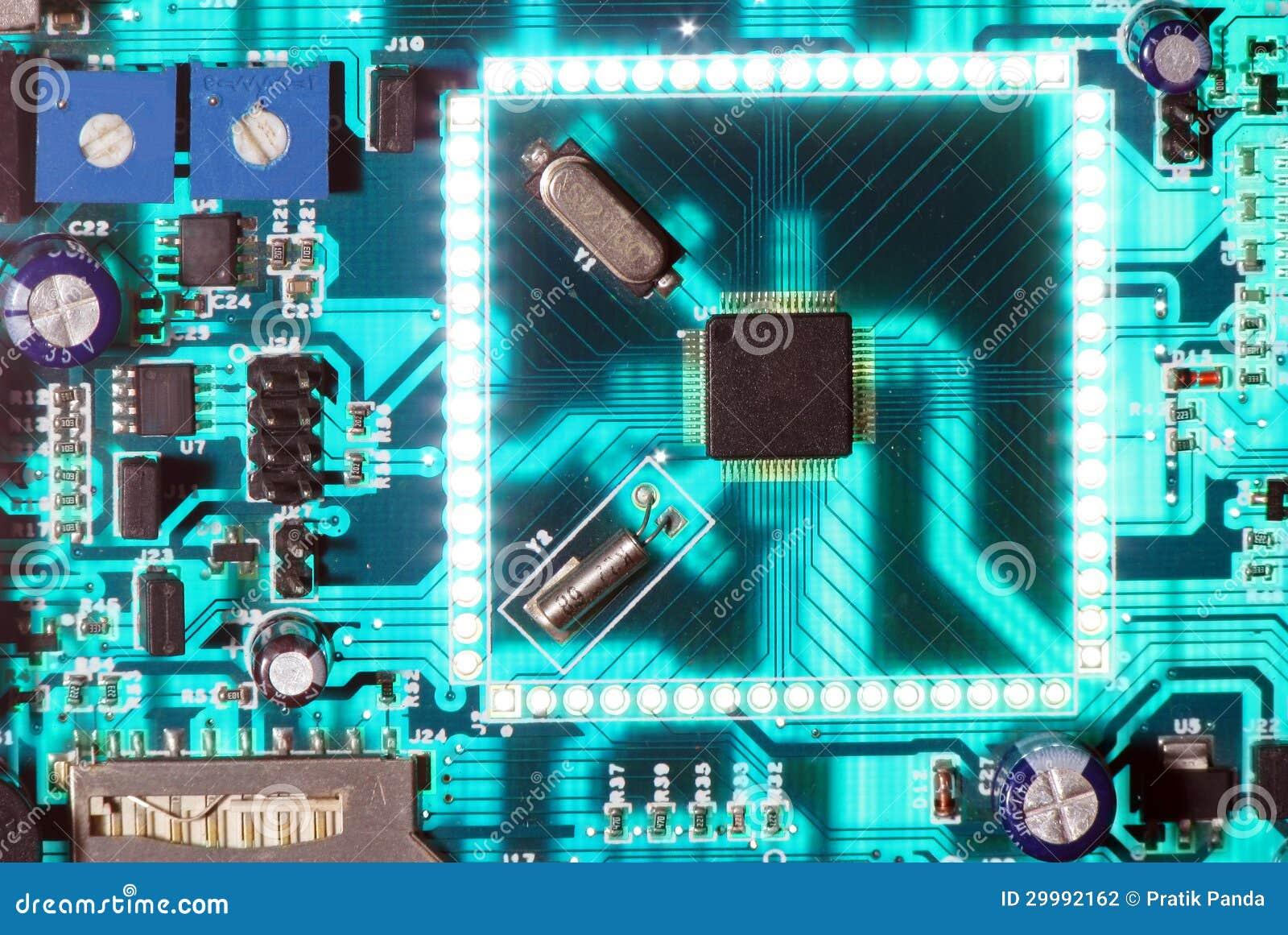 Incandescência eletrônica da placa de circuito da microplaqueta