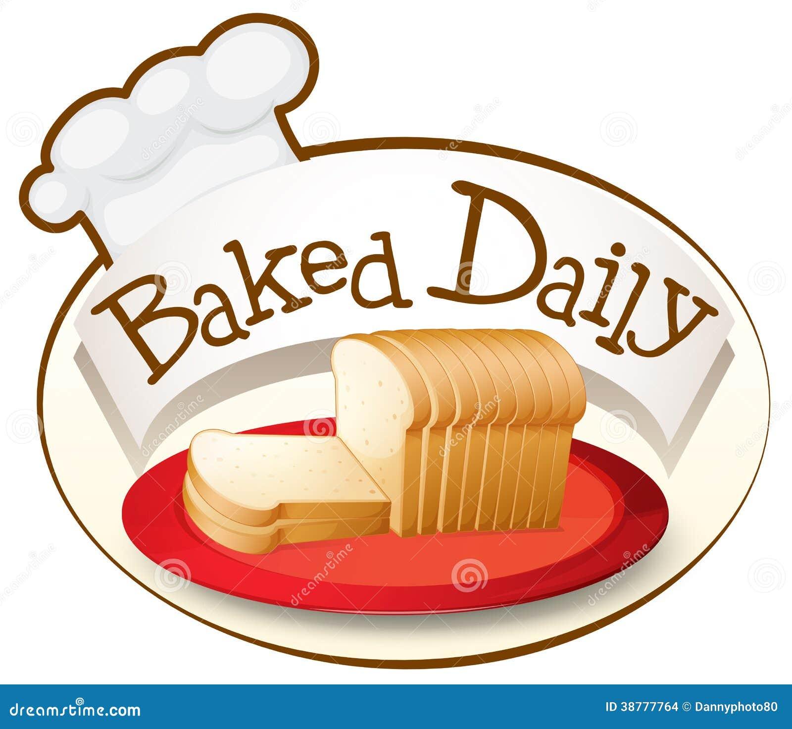 Uma placa do pão com uma etiqueta diária cozida