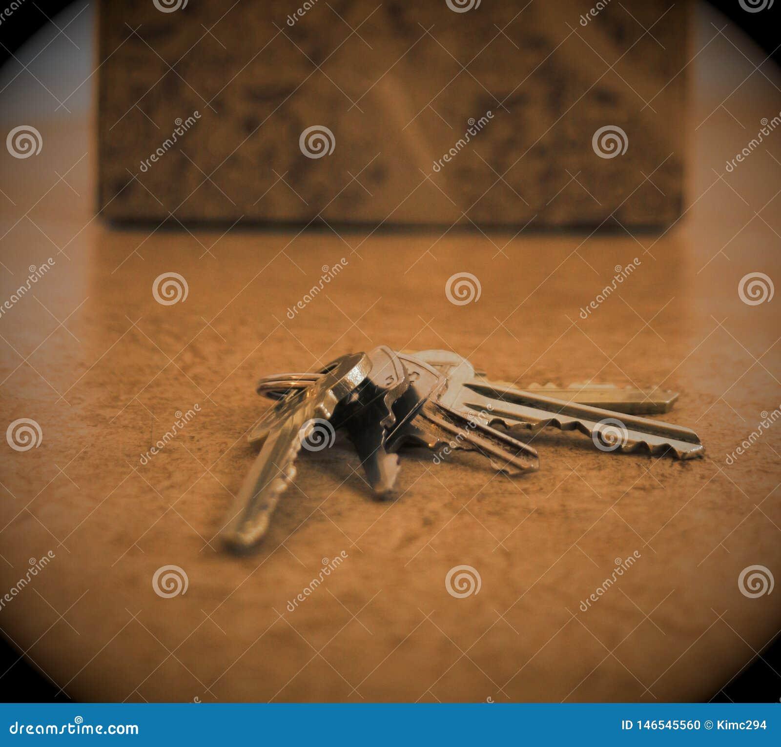 Uma porta-chaves com diversas chaves está encontrando-se em um assoalho do apartamento na frente de uma caixa de cartão
