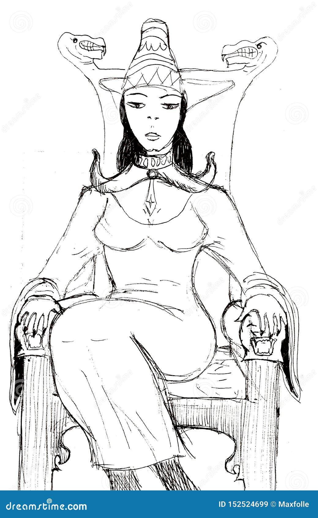 Uma rainha nova que senta-se em um trono de madeira
