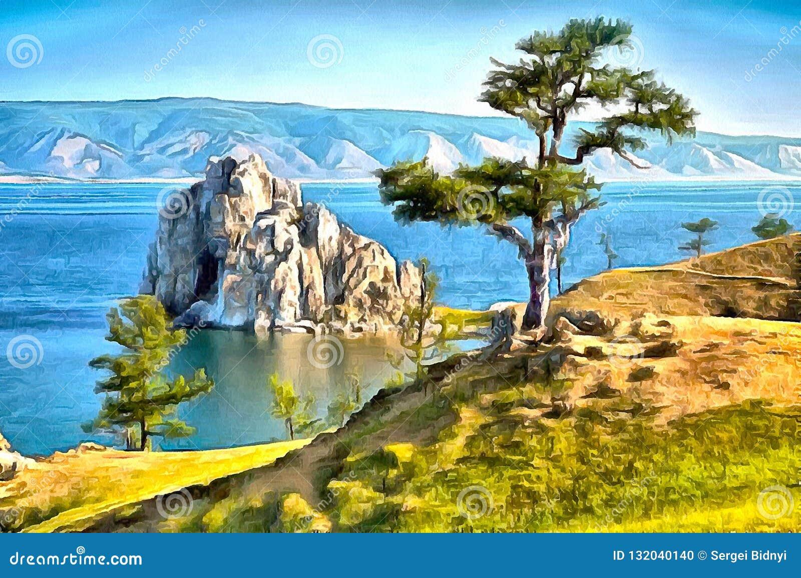 Uma rocha no lago Baikal e uma árvore que está apenas na costa
