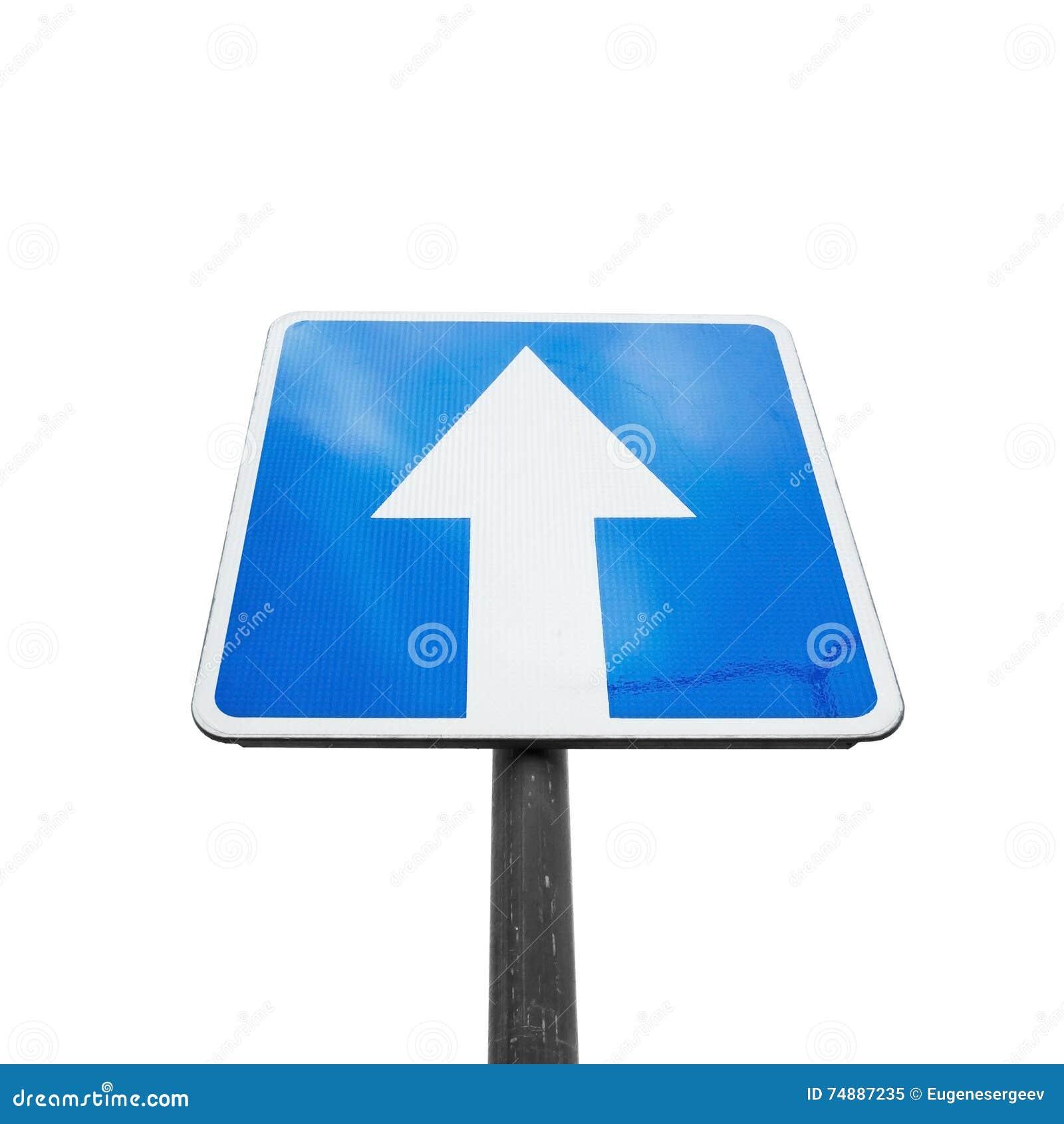 Uma rua de maneira, sinal de estrada azul quadrado isolado
