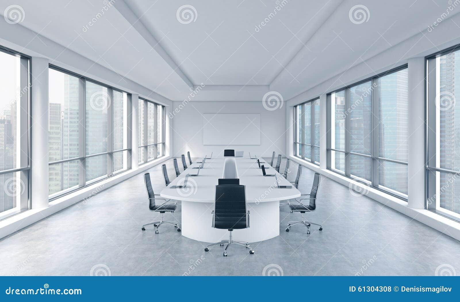 Uma sala de reunião panorâmico moderna brilhante em um escritório moderno com opinião de Singapura O conceito da reunião do conse