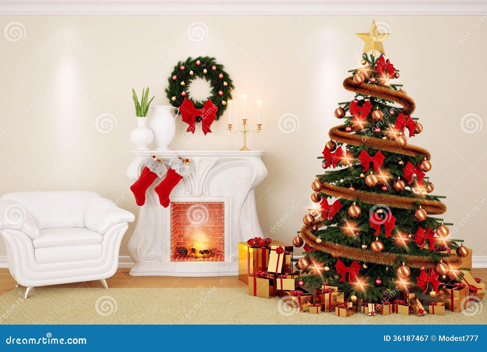Sala De Visitas Da Decoração No Tempo Do Natal Com Chaminé, Abeto~ Decoracao De Sala Para O Natal