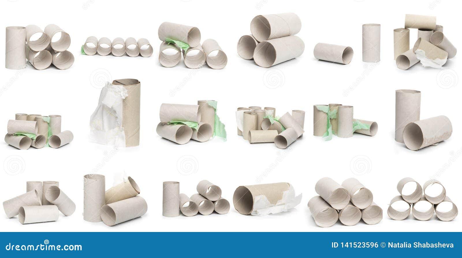 Uma seleção dos tubos do papel higiênico do cartão em vários arranjos isolados em um fundo branco