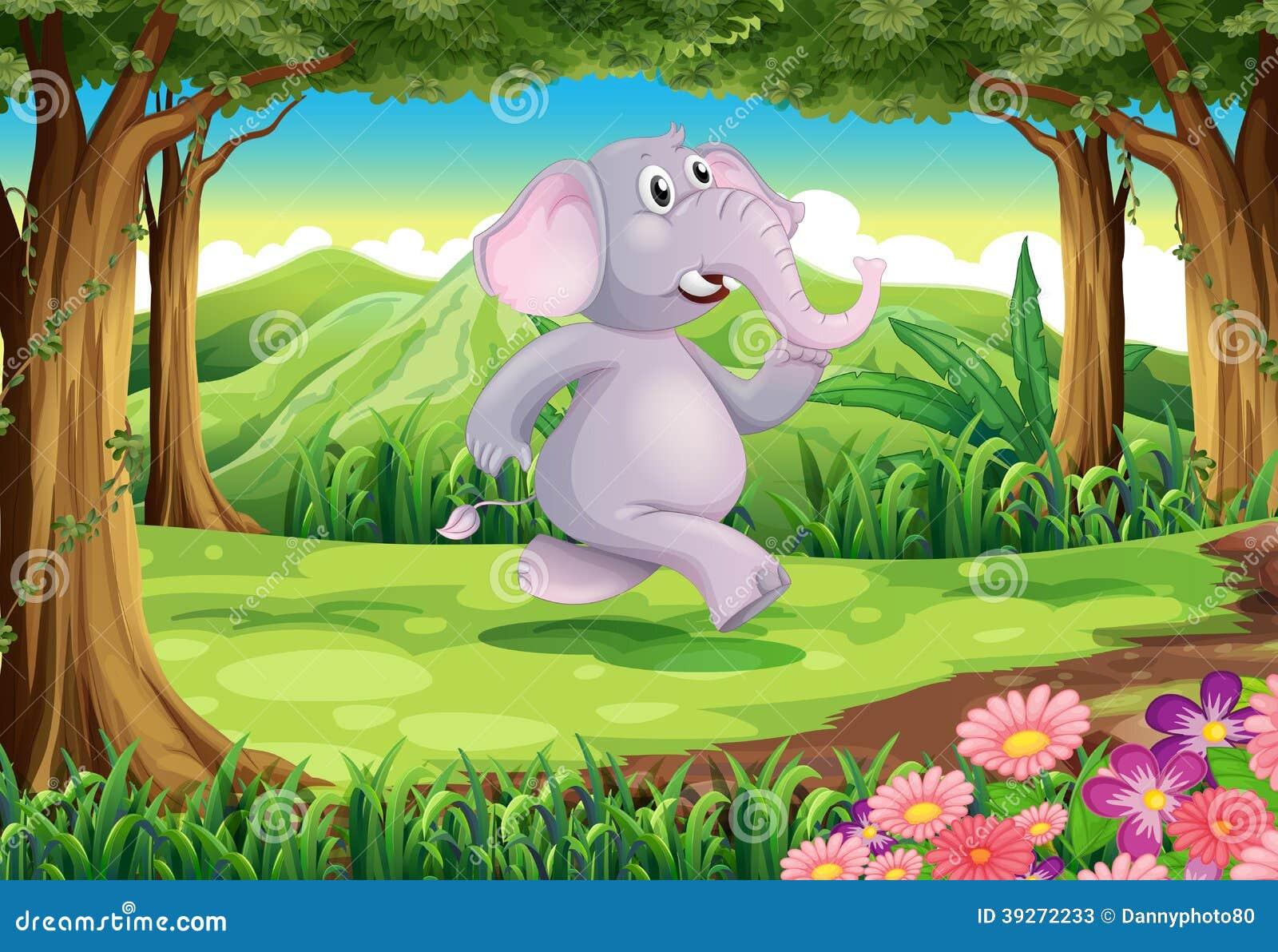 Uma selva com um elefante cinzento