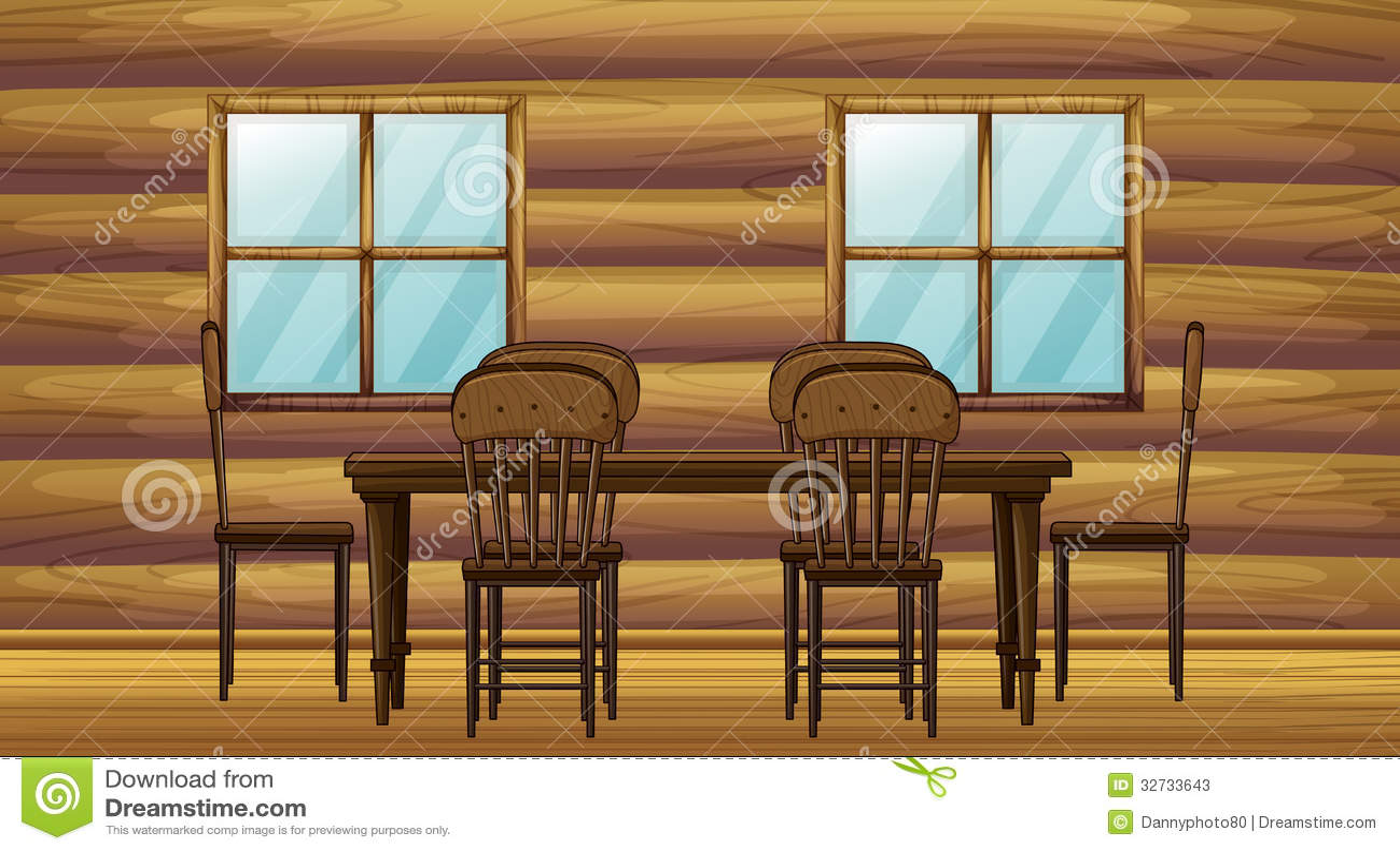 Uma tabela e cadeiras