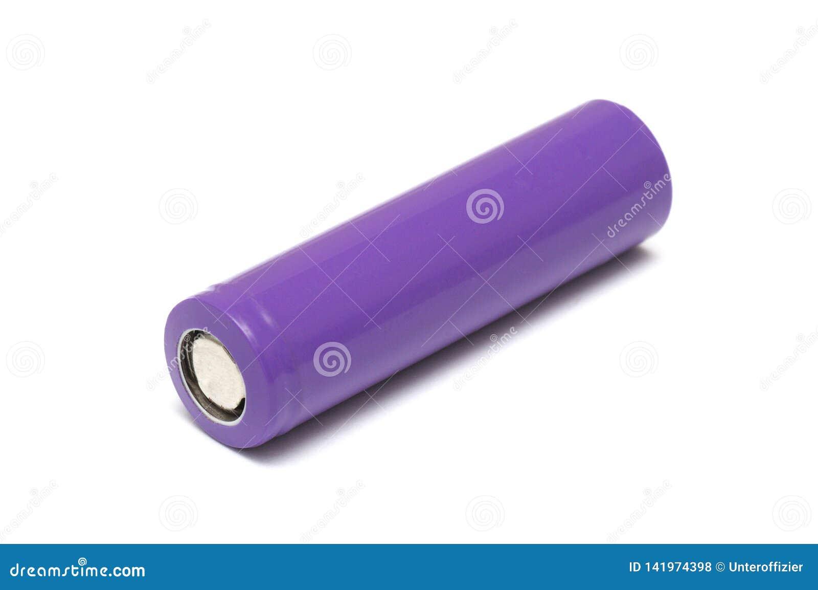 Uma unidade recarregável cilíndrica colorida roxo da bateria de íon de lítio