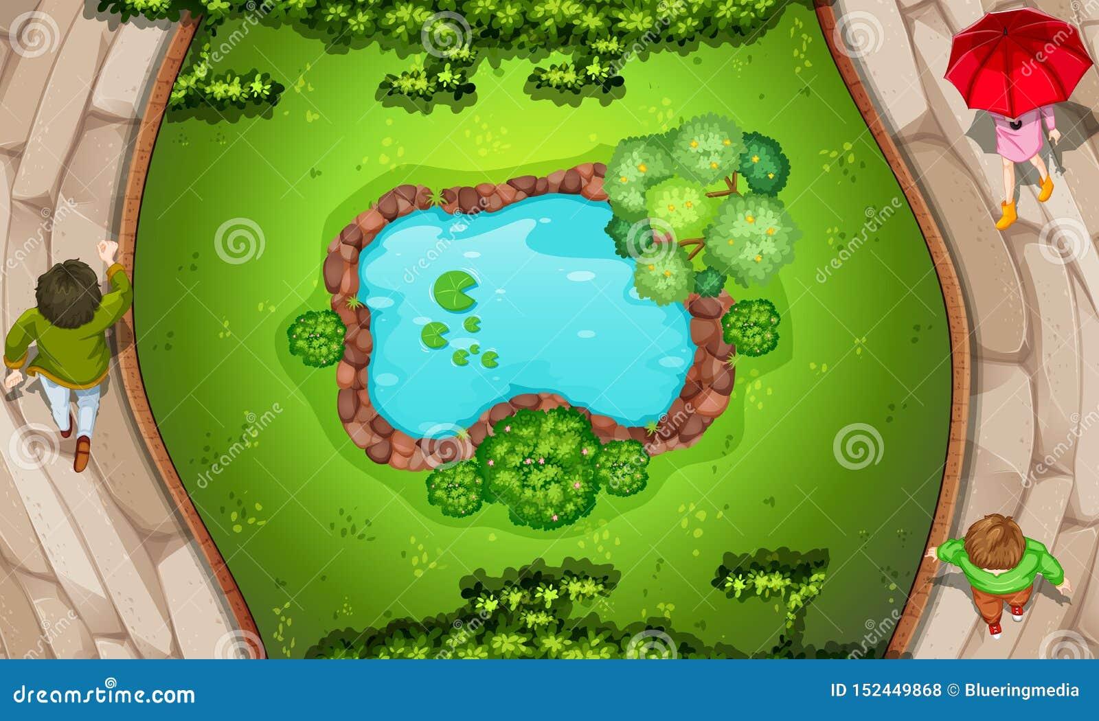 Uma vista aérea do parque