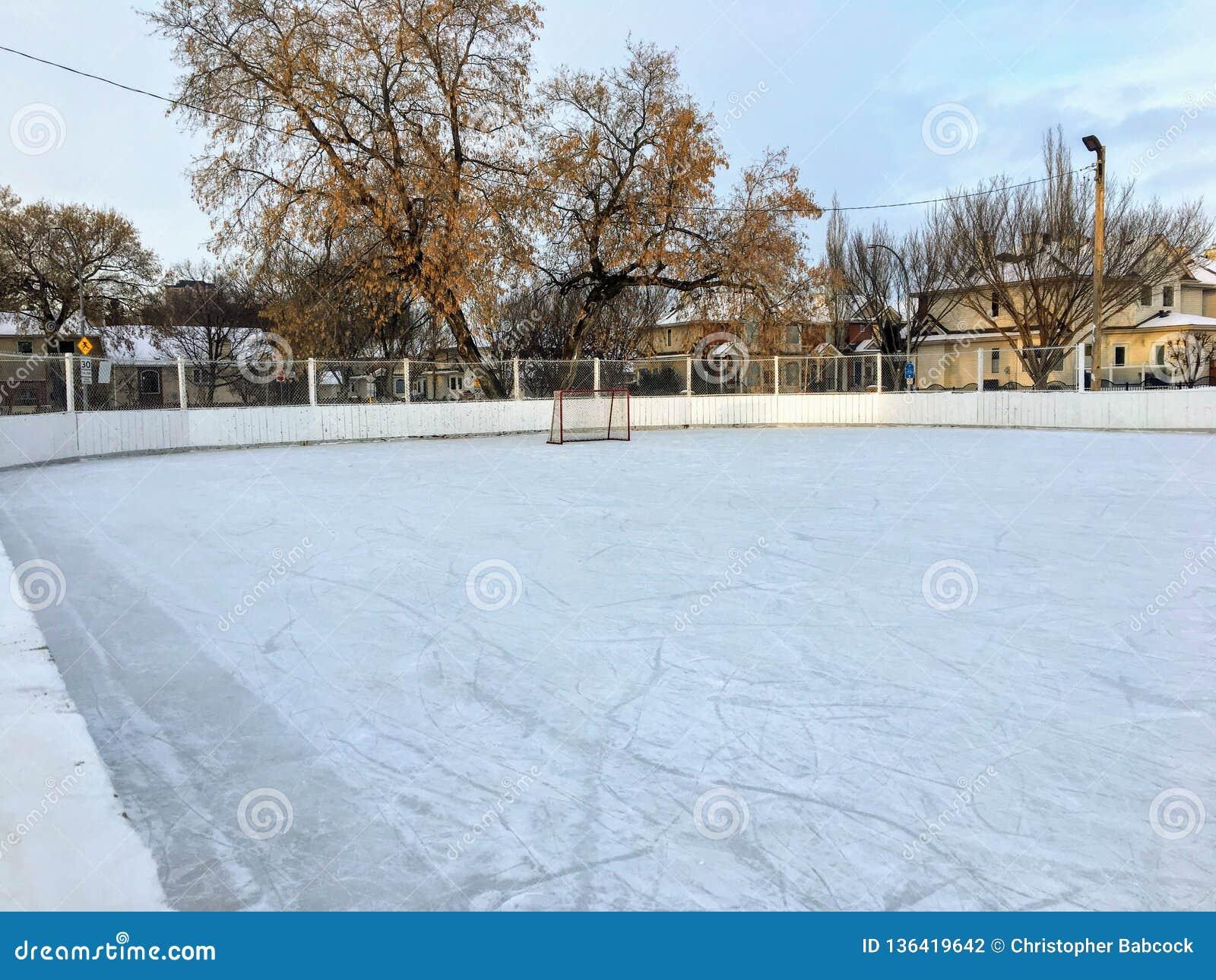 Uma vista agradável de uma grande pista exterior do hóquei em gelo em Edmonton, Alberta, Canadá