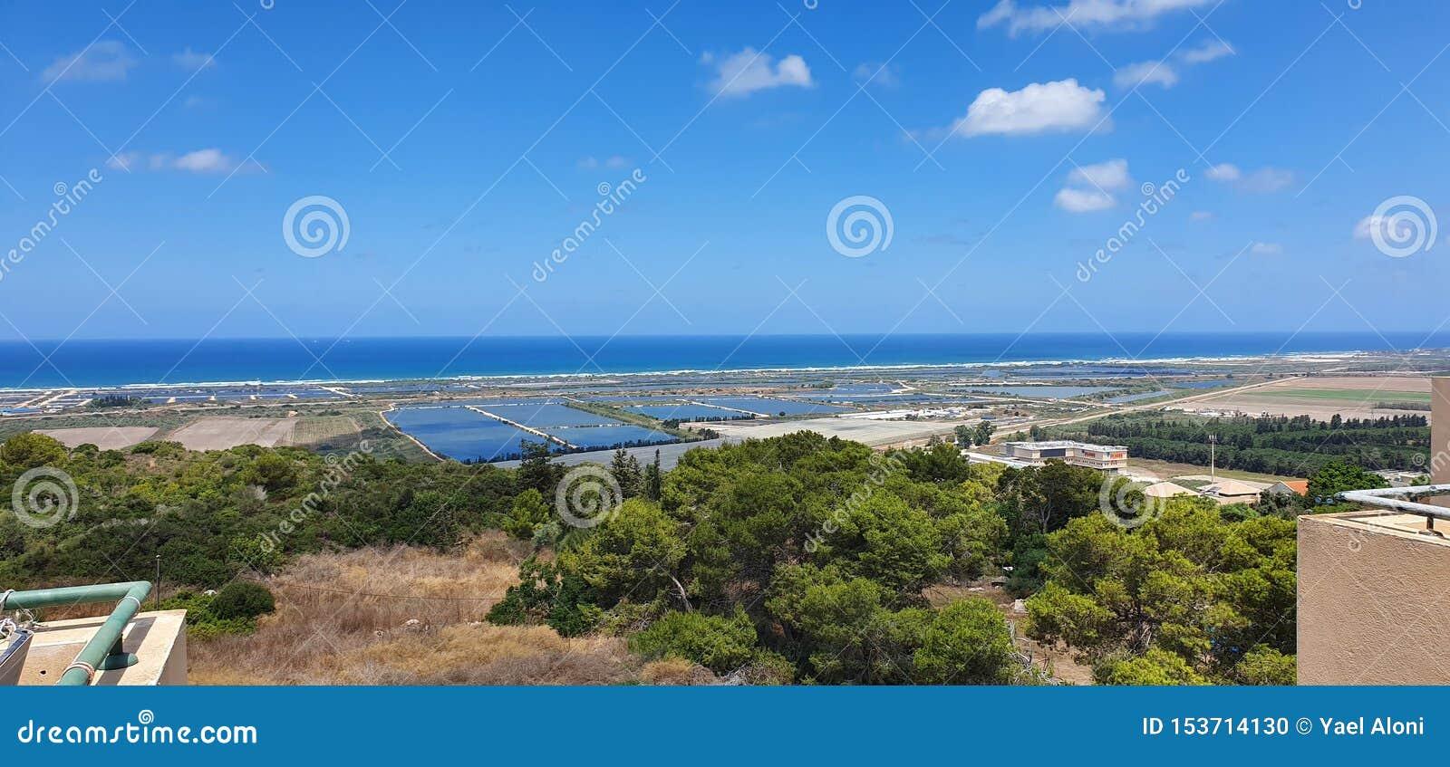 Uma vista panorâmica em Carmel, Israel