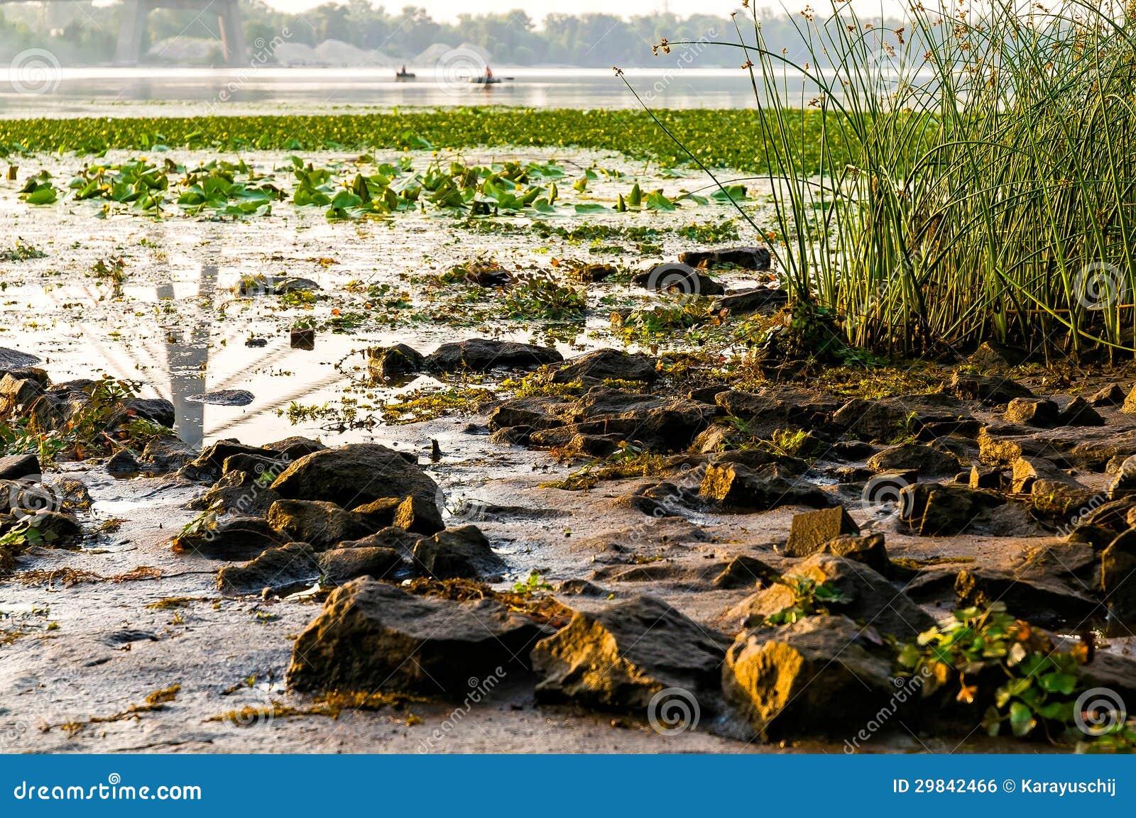 Vista do rio de Dniper na manhã