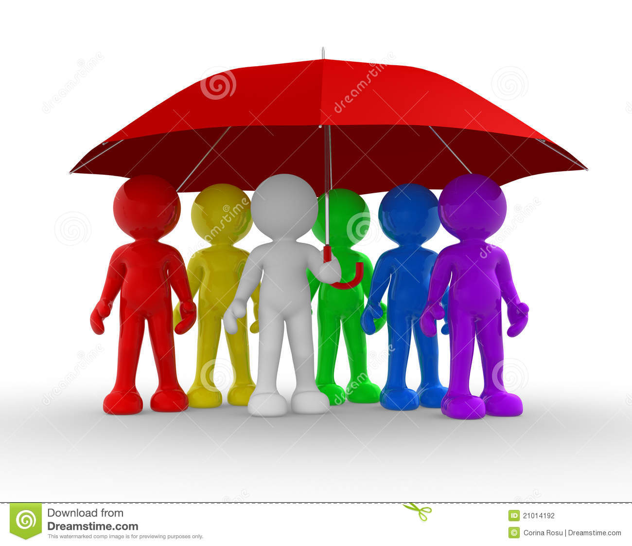 Group of people under the umbrella - This is a 3d render illustration.