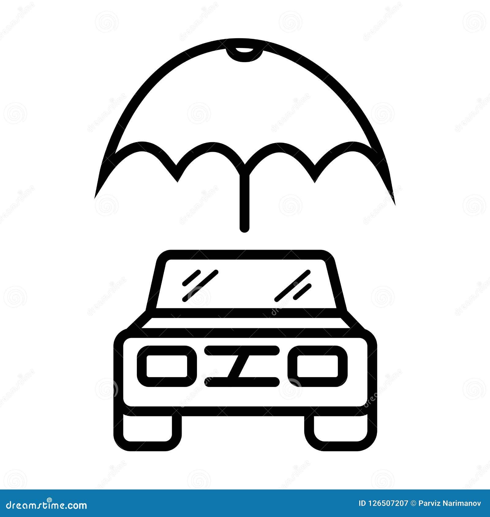 Umbrella Above Car Icon Vector Car Stock Illustration