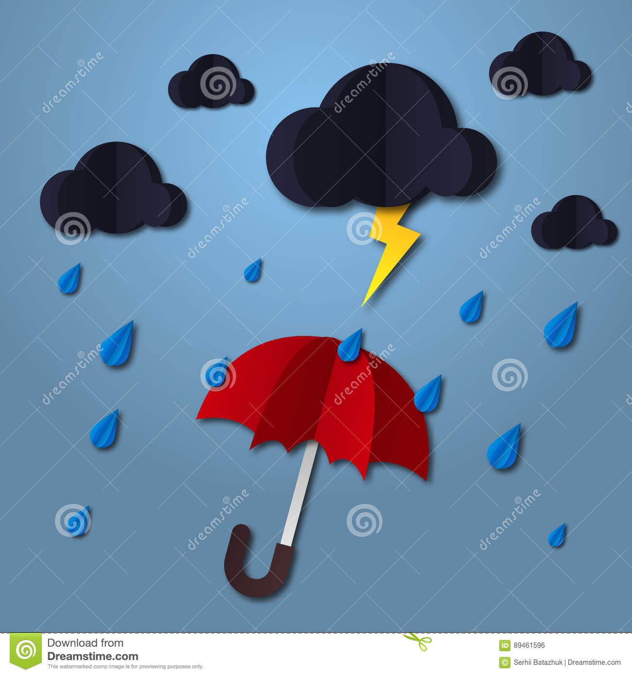 Download Umbrella In The Air With Cloud And Rain Paper Art Style Projects Template