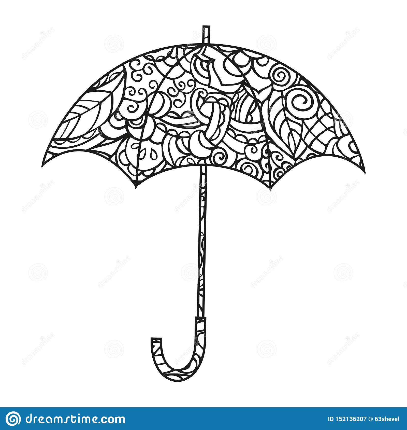 Umbrella. Coloring Page. Isolated Black And White Vector ...